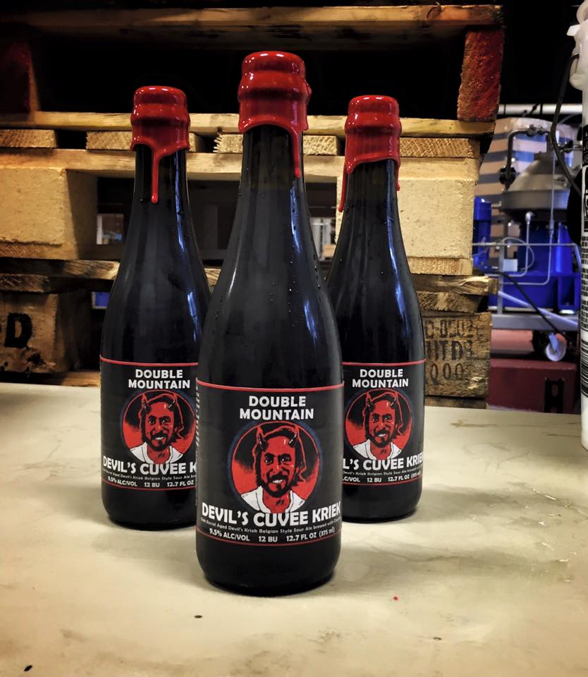 Bottles of Double Mountain Devil's Cuvee Kriek. (image courtesy of Double Mountain Brewery & Taproom)