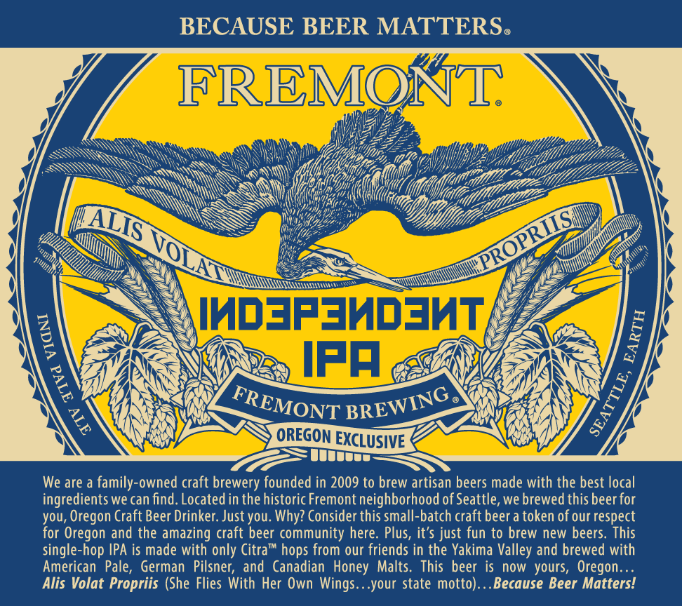 Fremont Brewing Independent IPA Label