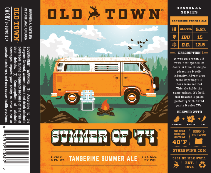 Old Town Brewing Summer of '74 Label