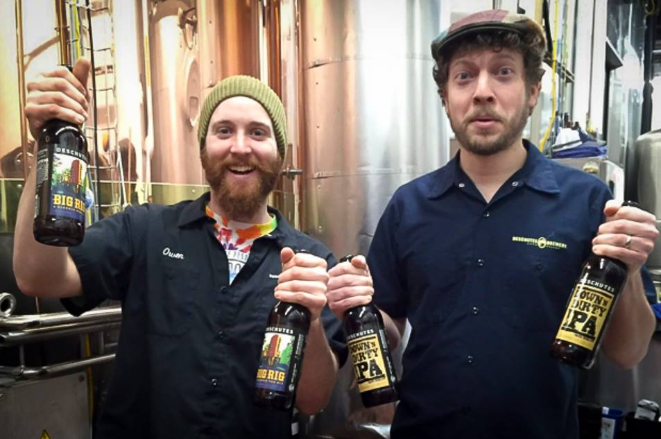 Owen and Ben from Deschutes Pose with Big Rig - A Classic Pub Ale & Down 'N Dirty IPA. (image courtesy of Deschutes Brewery)