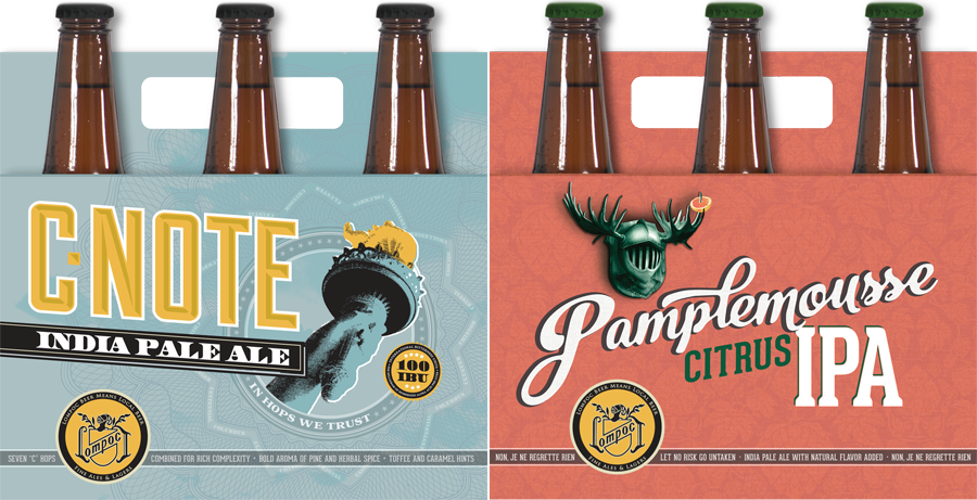Pamplemousse Citrus IPA and C-Note IPA in 12 oz. Bottles