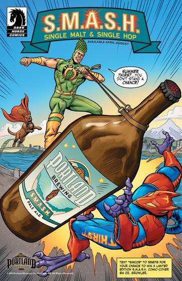 Portland Brewing S.M.A.S.H. Comic Book by Dark Horse Comics. (image courtesy of Portland Brewing Co.)