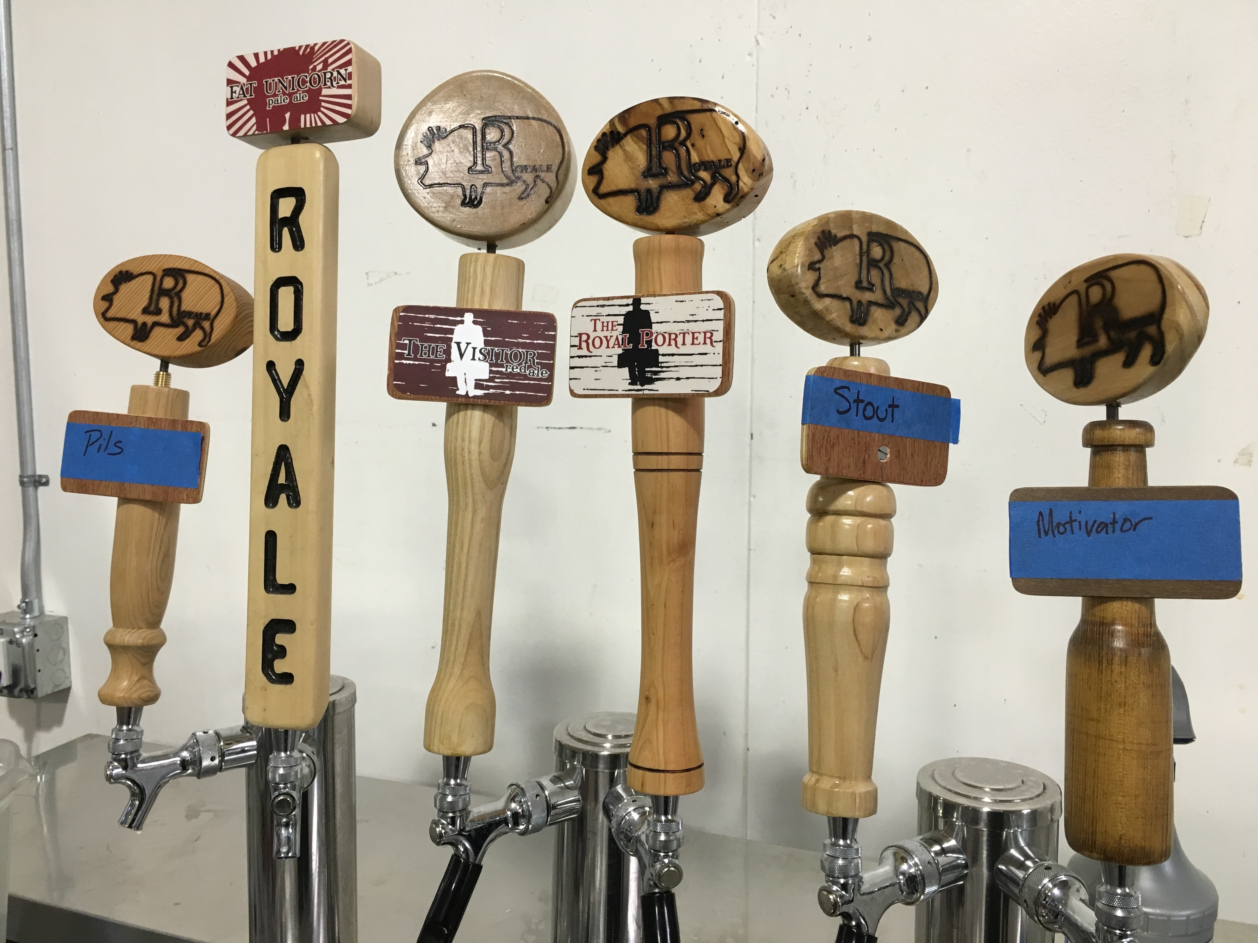 Royale Brewing tap handles at its production brewery in NE Portland.