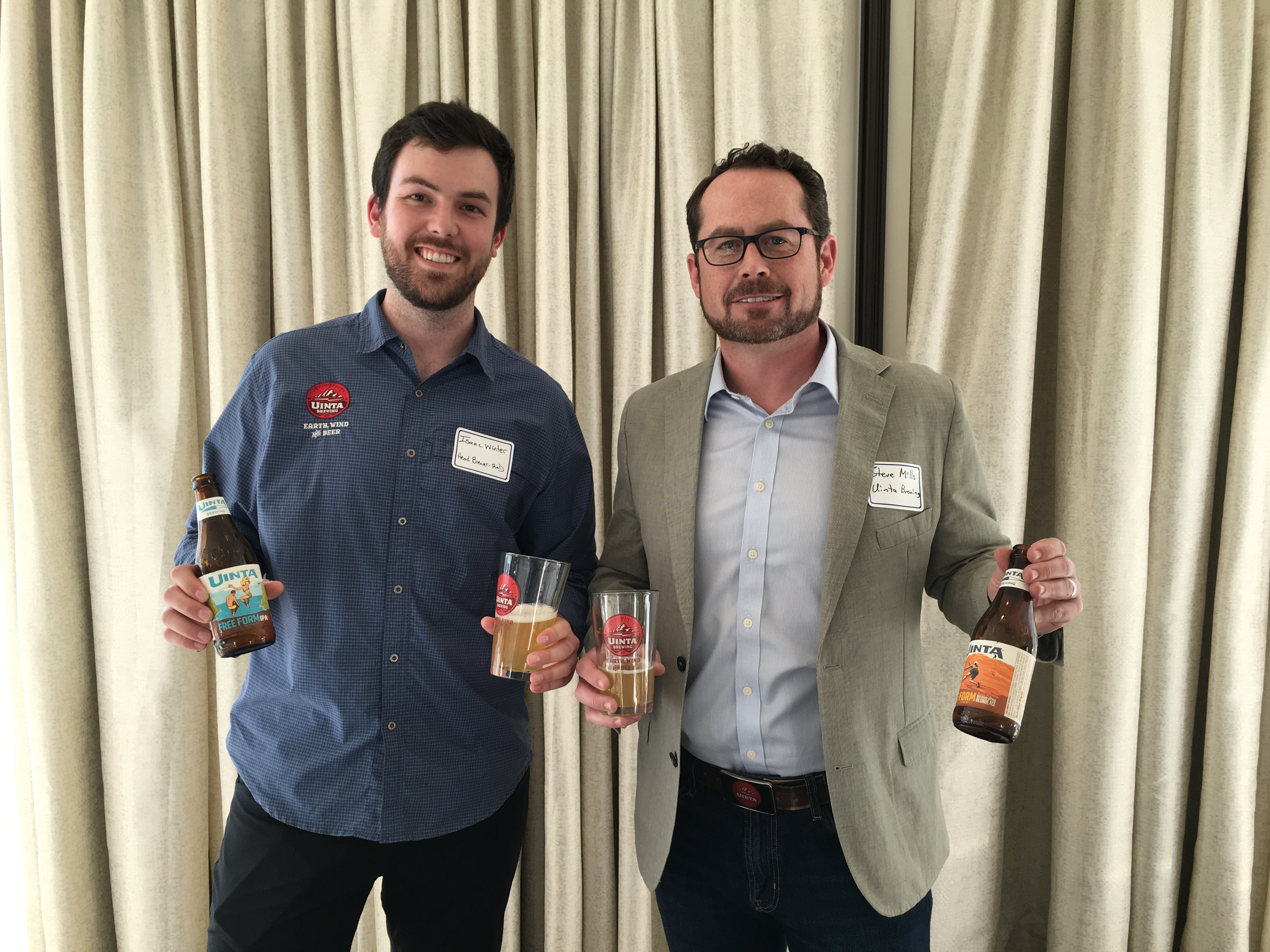 Uinta Brewing's R&D brewer Isaac Winter and Uinta's CEO Steve Mills at the launch of Uinta Brewing Free Form Gluten Free IPA and Belgian-Style Blonde Ale.