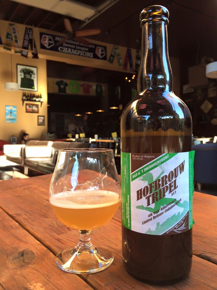 A bottle pour of Bazi Hofbrouw Tripel Ale, brewed for Bazi's 4th Anniversary in 2015. (photo by Cat Stelzer)
