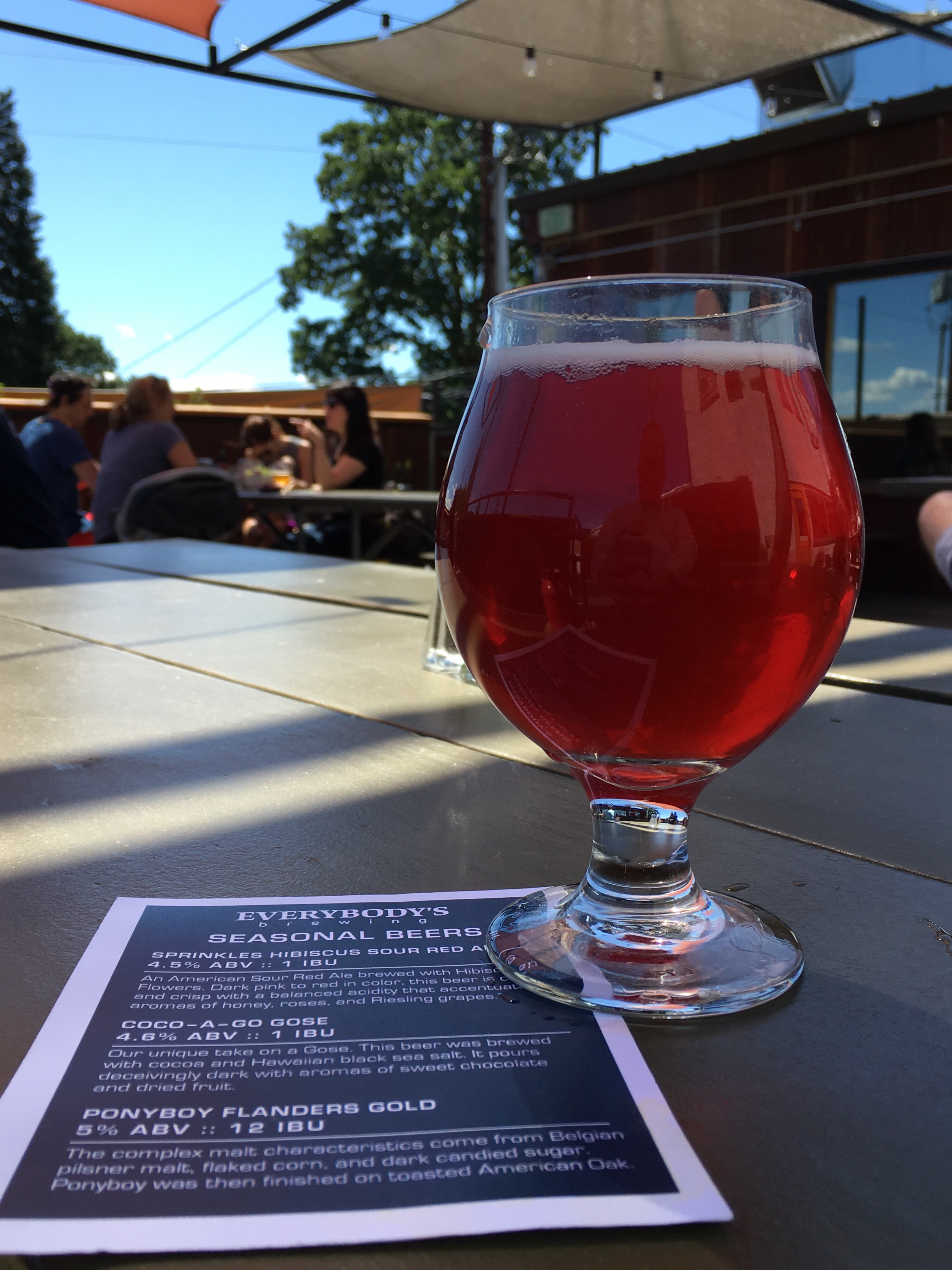 A glass pour of Everybody's Brewing Sprinkles Hibiscus Sour Red Ale while sitting on the patio at its pub in the Columbia River Gorge.