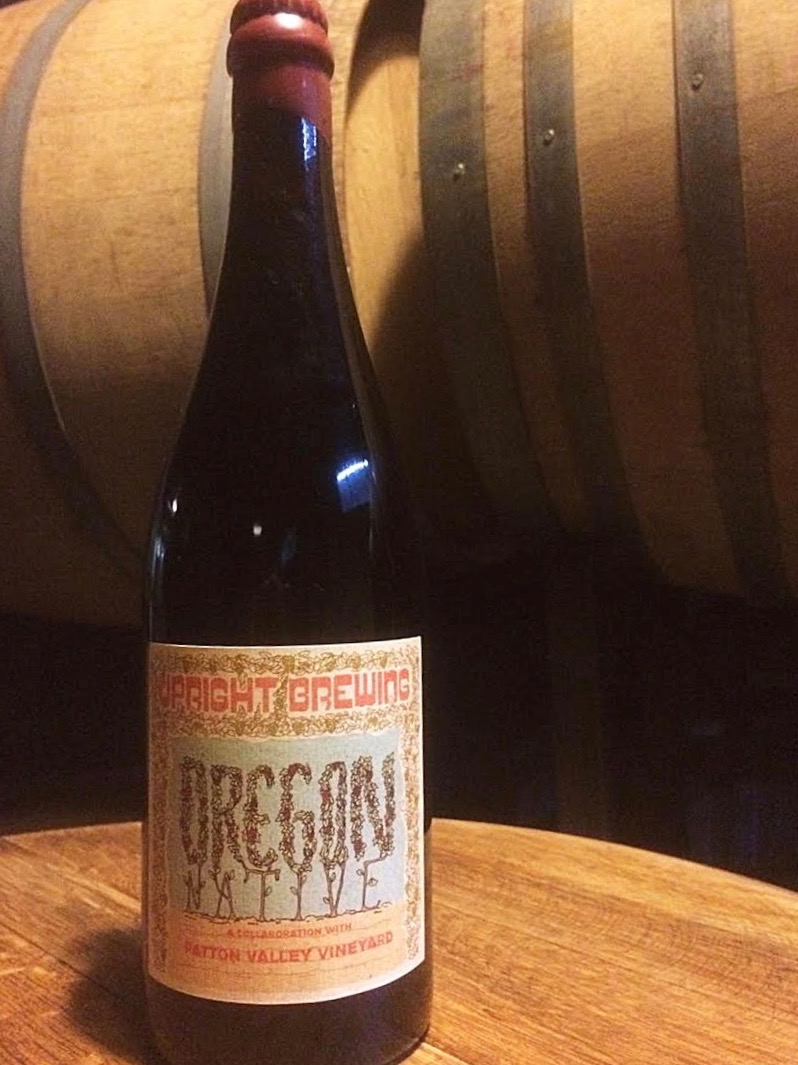 A waxed dipped bottle of Upright Brewing Oregon Native - A Collaboration With Patton Valley Vineyard. (image courtesy of Upright Brewing)