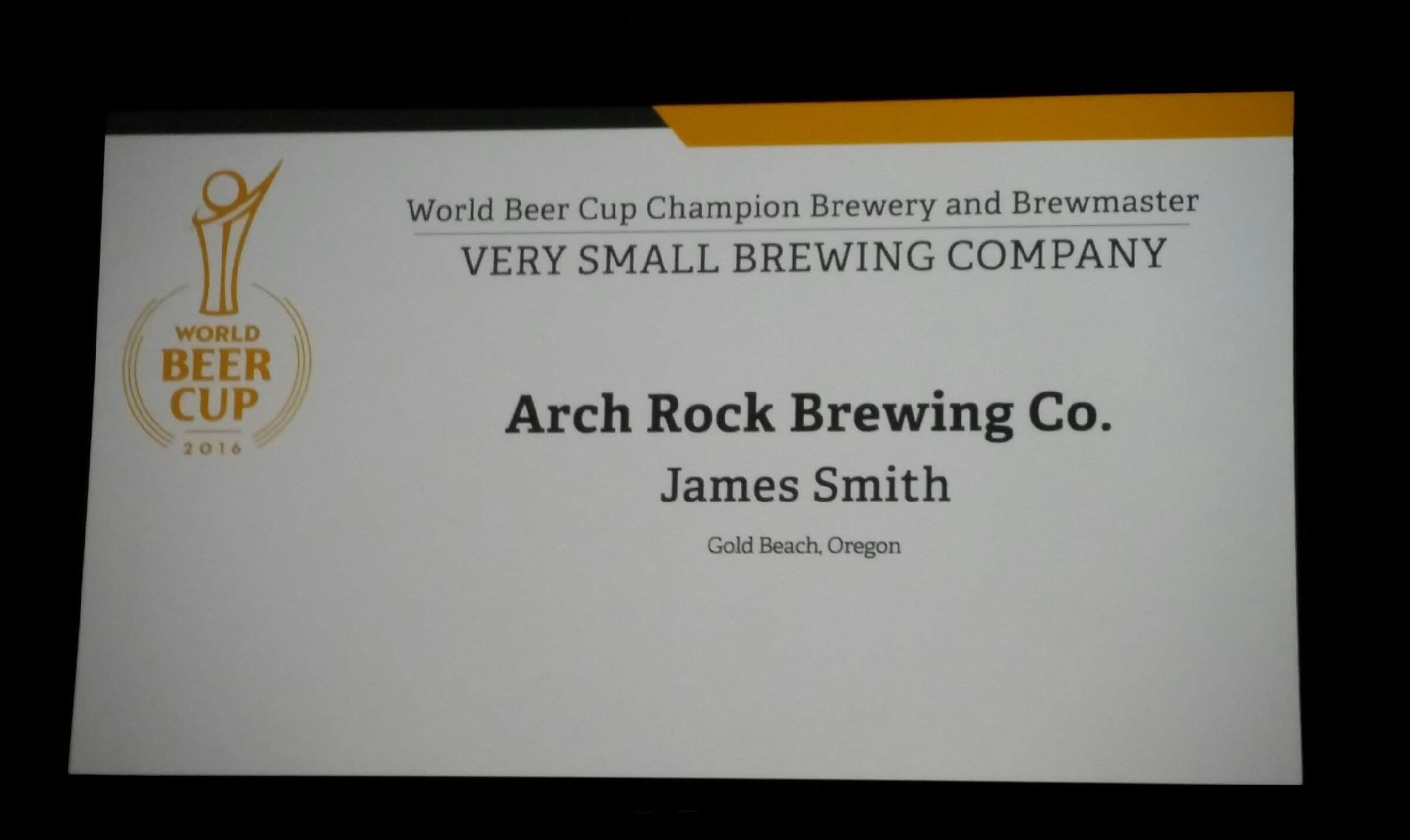 Arch Rock Brewing Co. wins Very Small Brewing Company at 2016 World Beer Cup.