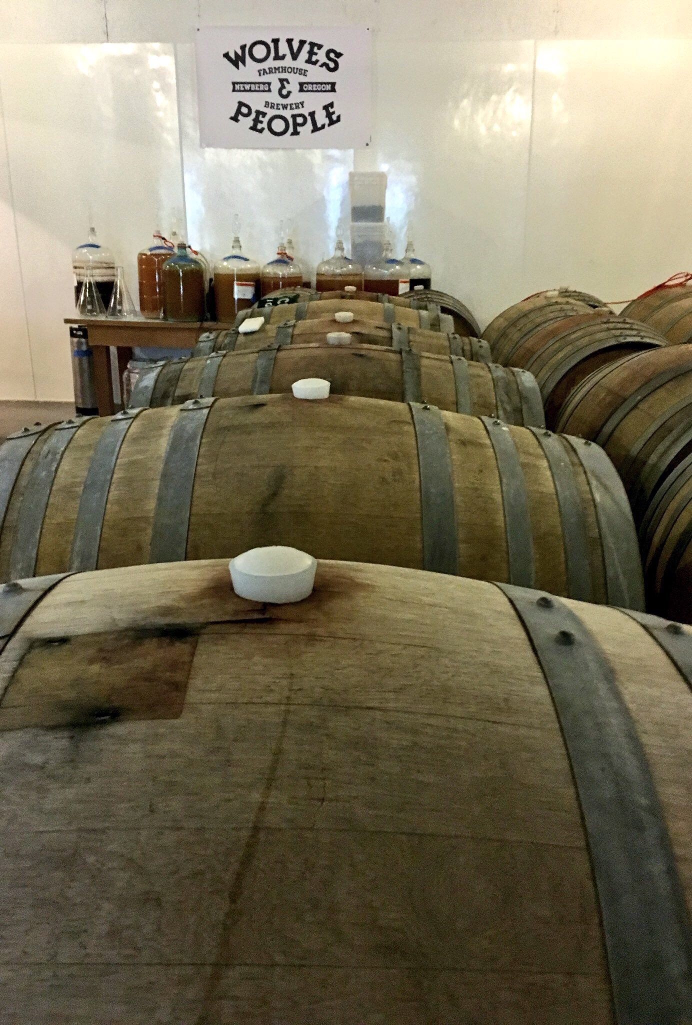 Barrels aging at Wolves & People Farmhouse Brewery. (photo by Cat Stelzer)