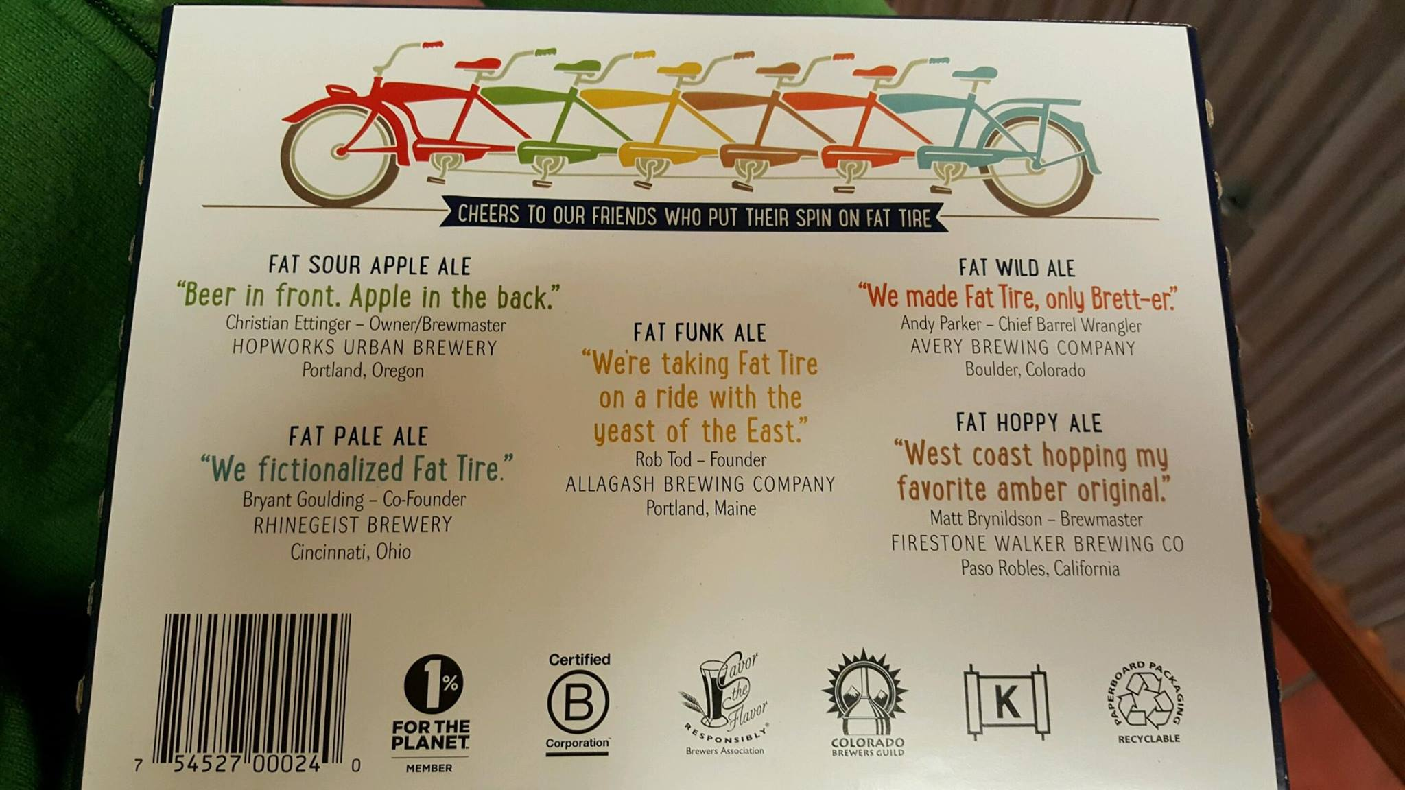 Beer descriptions of Fat Tire and Friends from New Belgium Brewing. (image courtesy of Hopworks Urban Brewery Facebook Page)