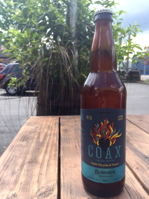 Burnside Brewing COAX No01 - A Polish Marynka & Mosaic hopped IPA. (image courtesy of Burnside Brewing)