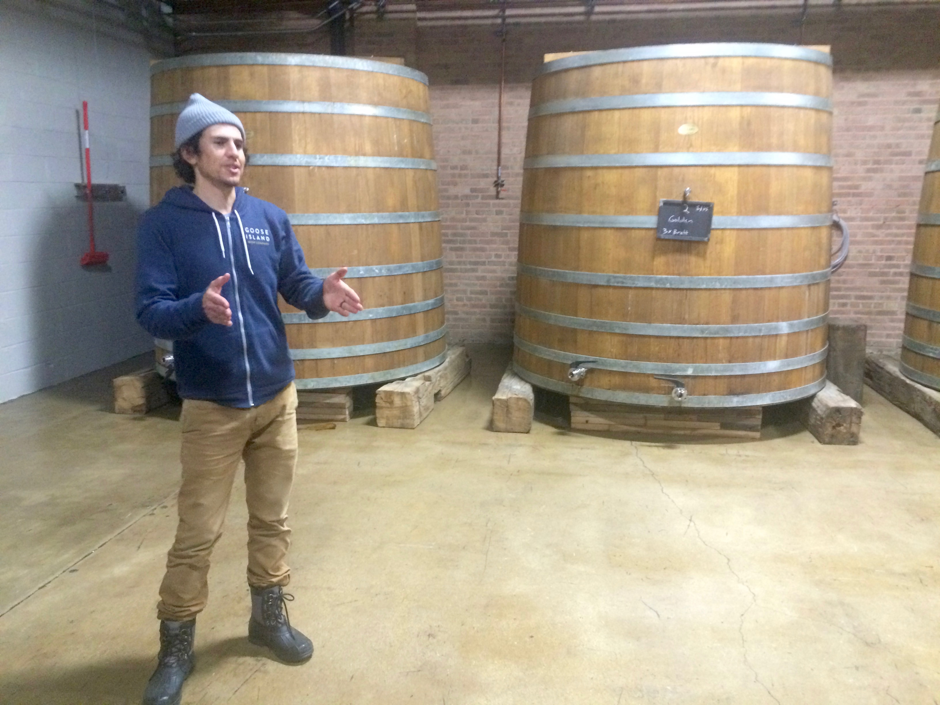 Eric Ponce, new Head Brewer at Logsdon Farmhouse Ales, giving a tour of Goose Island Barrel Warehouse, aka The Staviary, in November 2015.