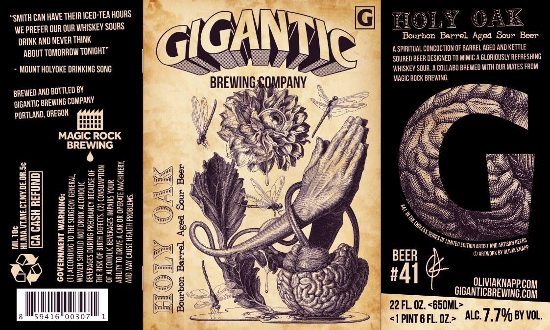 Gigantic Brewin Holy Oak Bourbon Barrel Aged Sour Beer Label