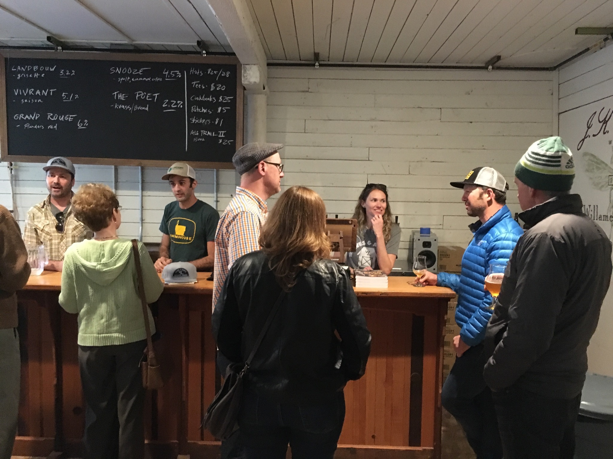 Inside the tasting room at Wolves & People Farmhouse Brewery. (photo by Cat Stelzer)