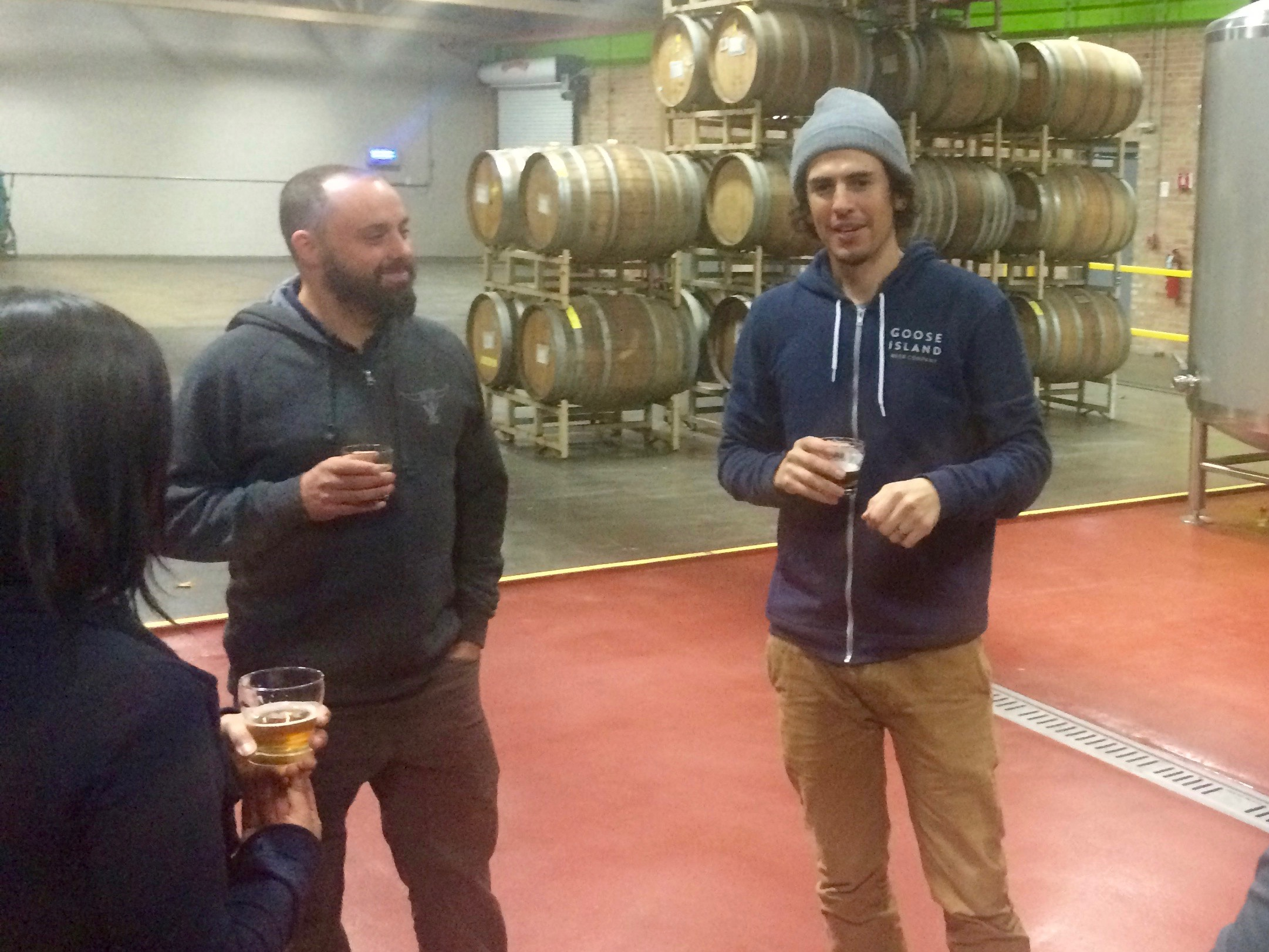 John Plutshack (left) and Eric Ponce at Goose Island Barrel Warehouse in November 2015, months prior to John bringing Eric to Logsdon Farmhouse Ales.