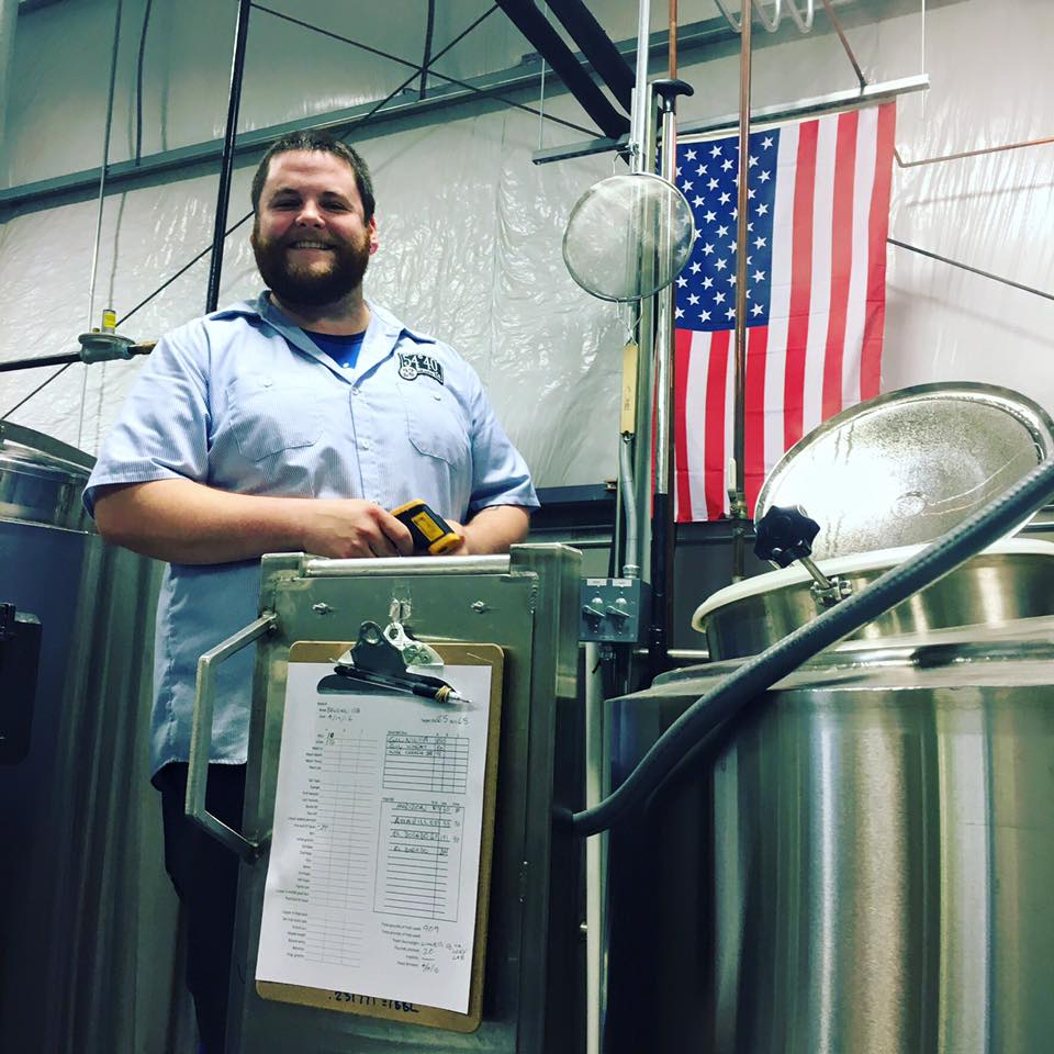 Josh Bitter, aka Badger, brewing his first beer, a Belgian Style IPA with El Dorado hops back on April 19. (image courtesy of 54-40 Brewing)