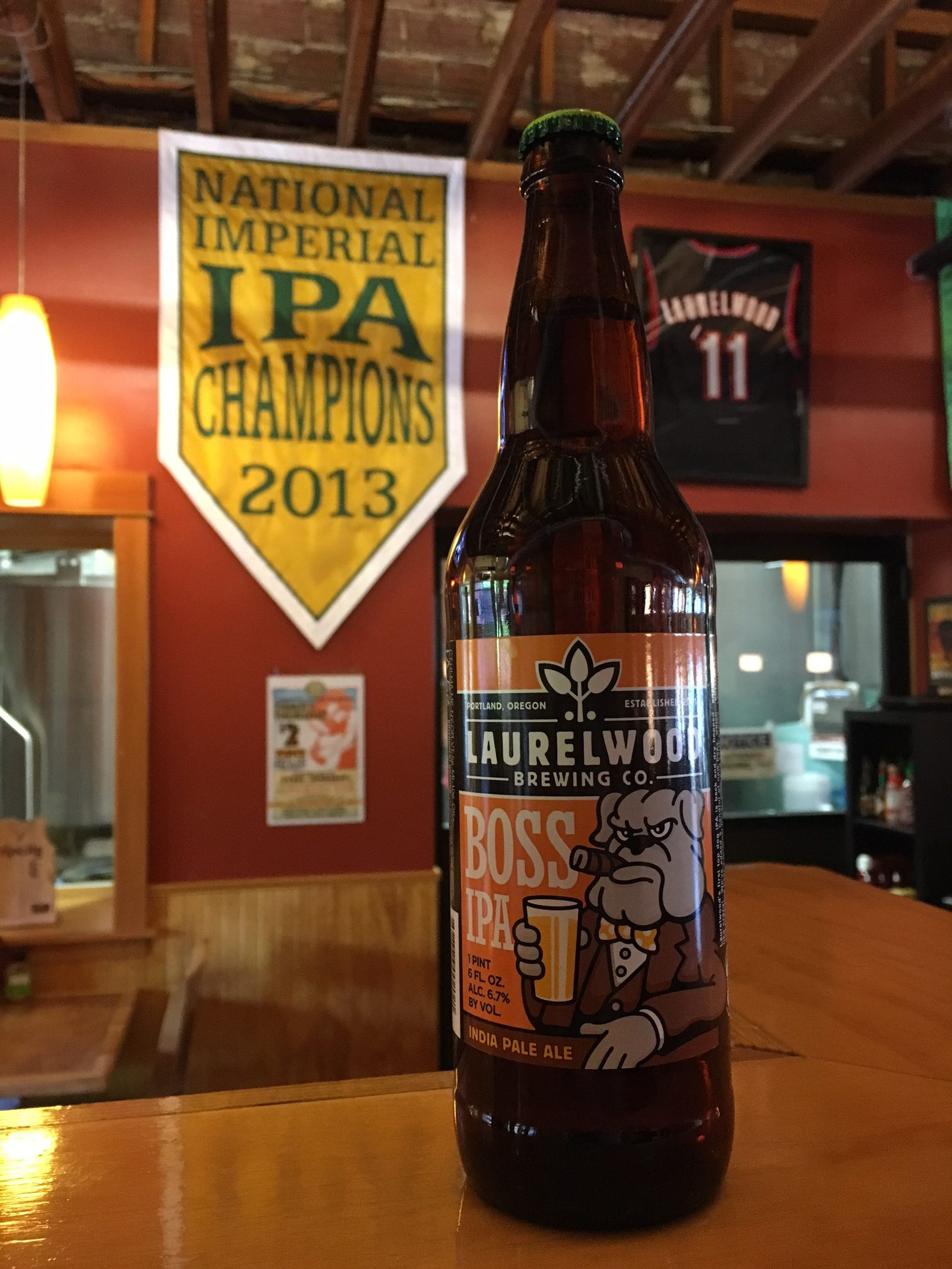 Laurelwood Boss IPA in a 22 oz. bottle at the brewery.