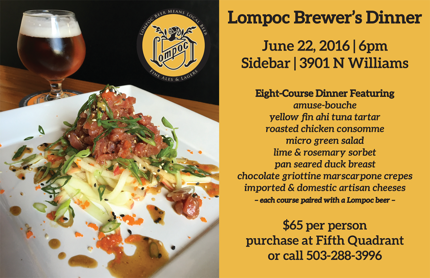 Lompoc Brewing presents Brewers Dinner at Sidebar