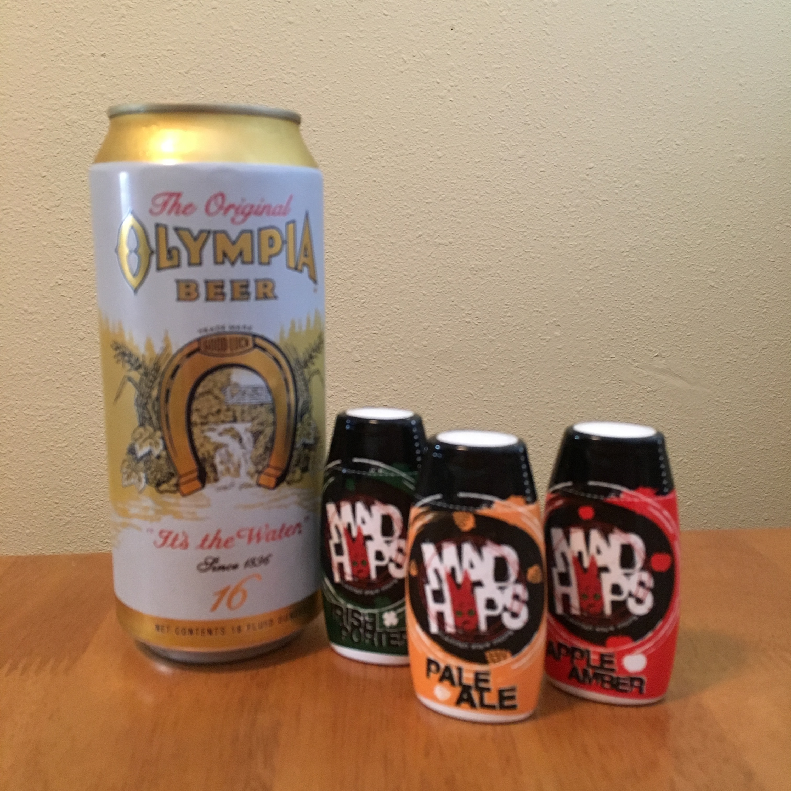 Mad Hops Pale Ale, Apple Amber, and Irish Porter mixed with Olympia Beer
