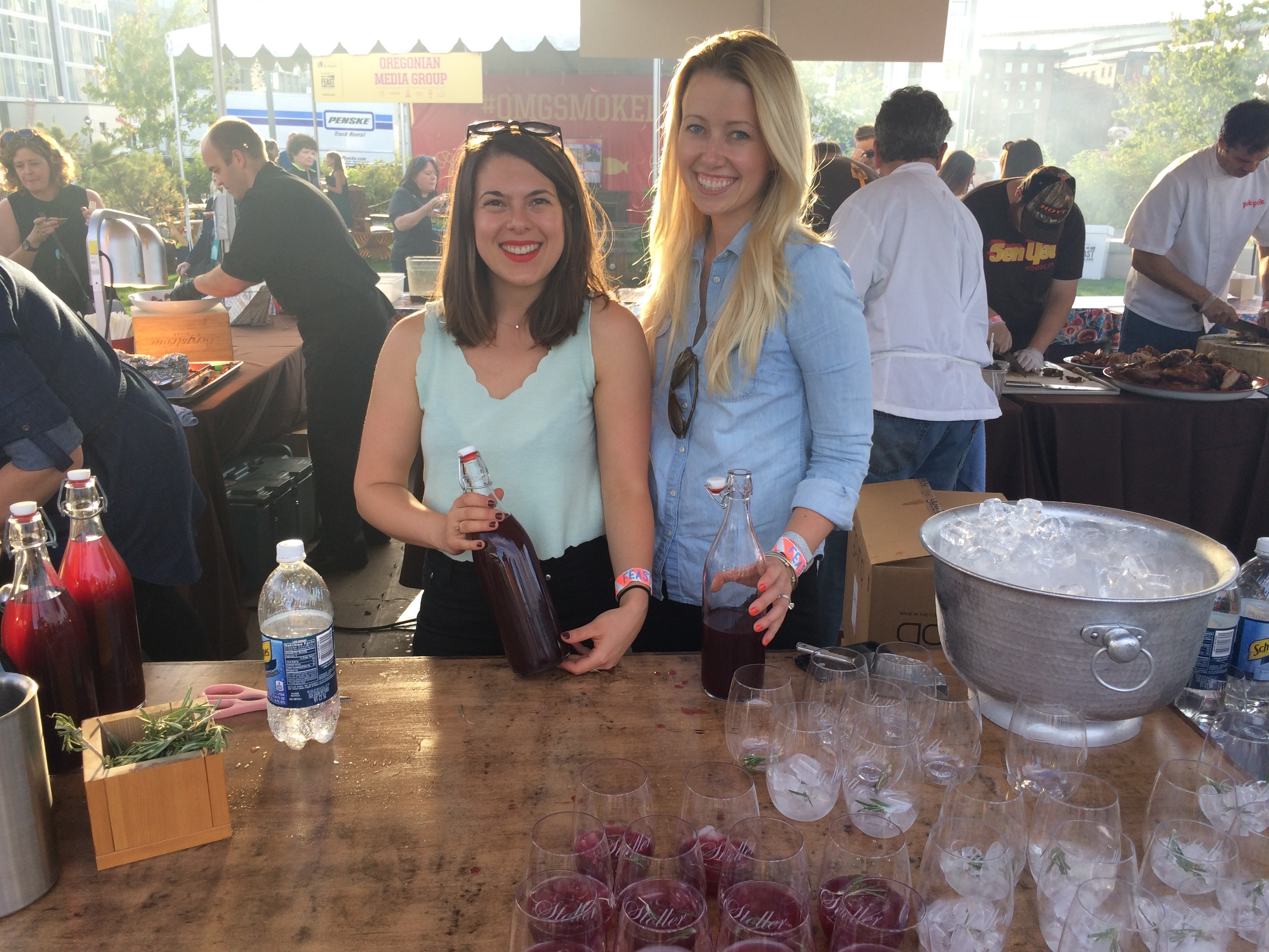 Mayme Bermand and Betsy Hannaford from Stoller Family Estate at Smoked! during Feast Portland. (photo by D.J. Paul)