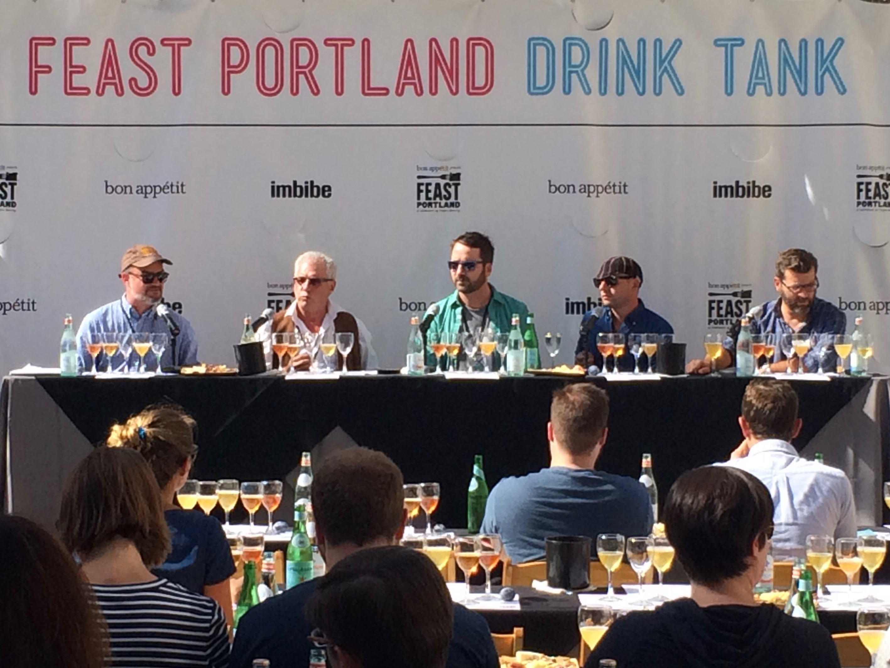Old MacDonald Had a Brewery panel at Feast Portland. Panelists included Paul Clarke, Dave Logsdon, Christian DeBenedetti, Josh Bernstein, and David Lynch (left to right). (photo by D.J. Paul)