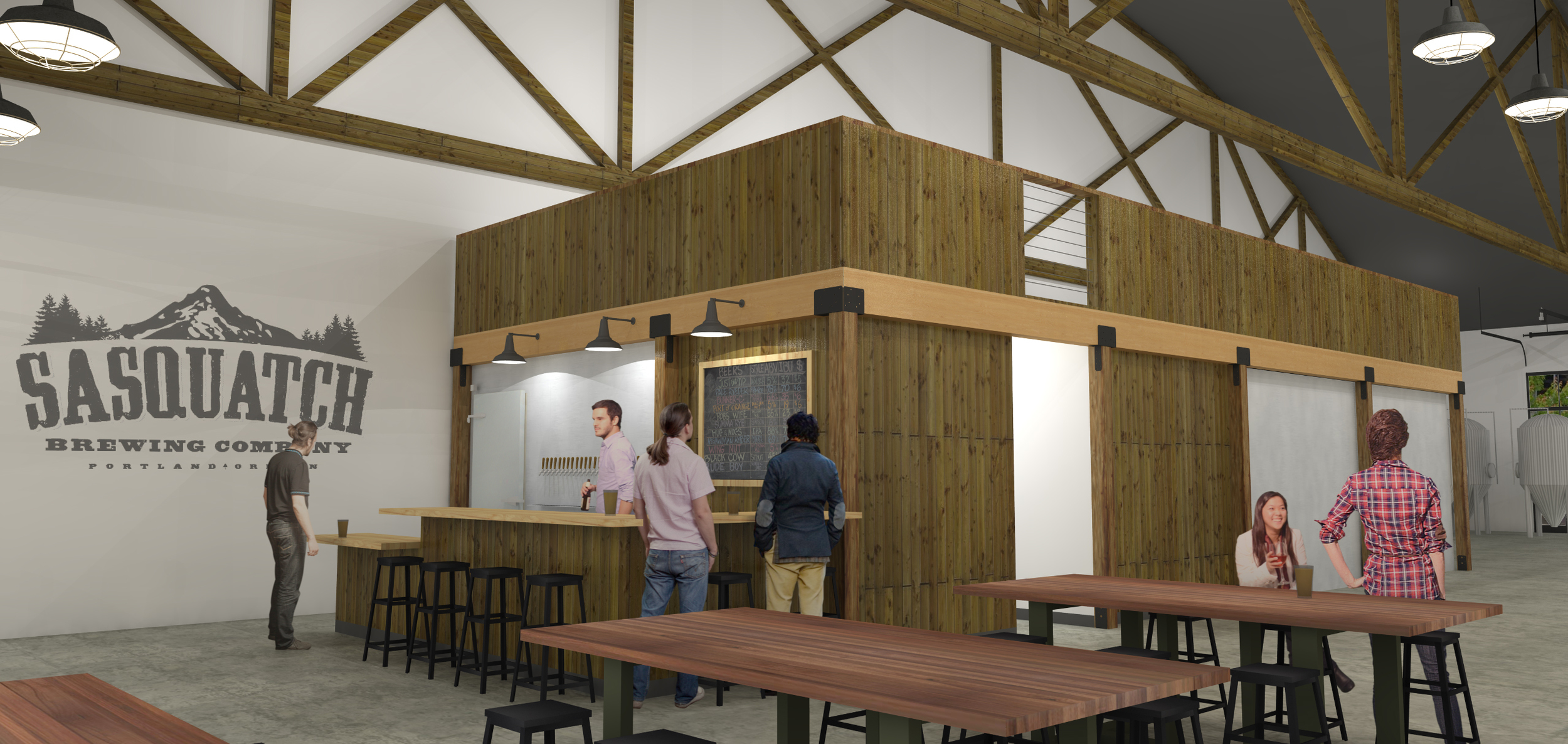 Rendering for the new Sasquatch Brewery in Northwest Industrial are of Portland. (image courtesy of SUM Design Stuido + architecture)