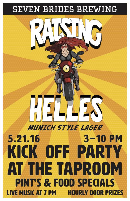 Seven Brides Helles party poster
