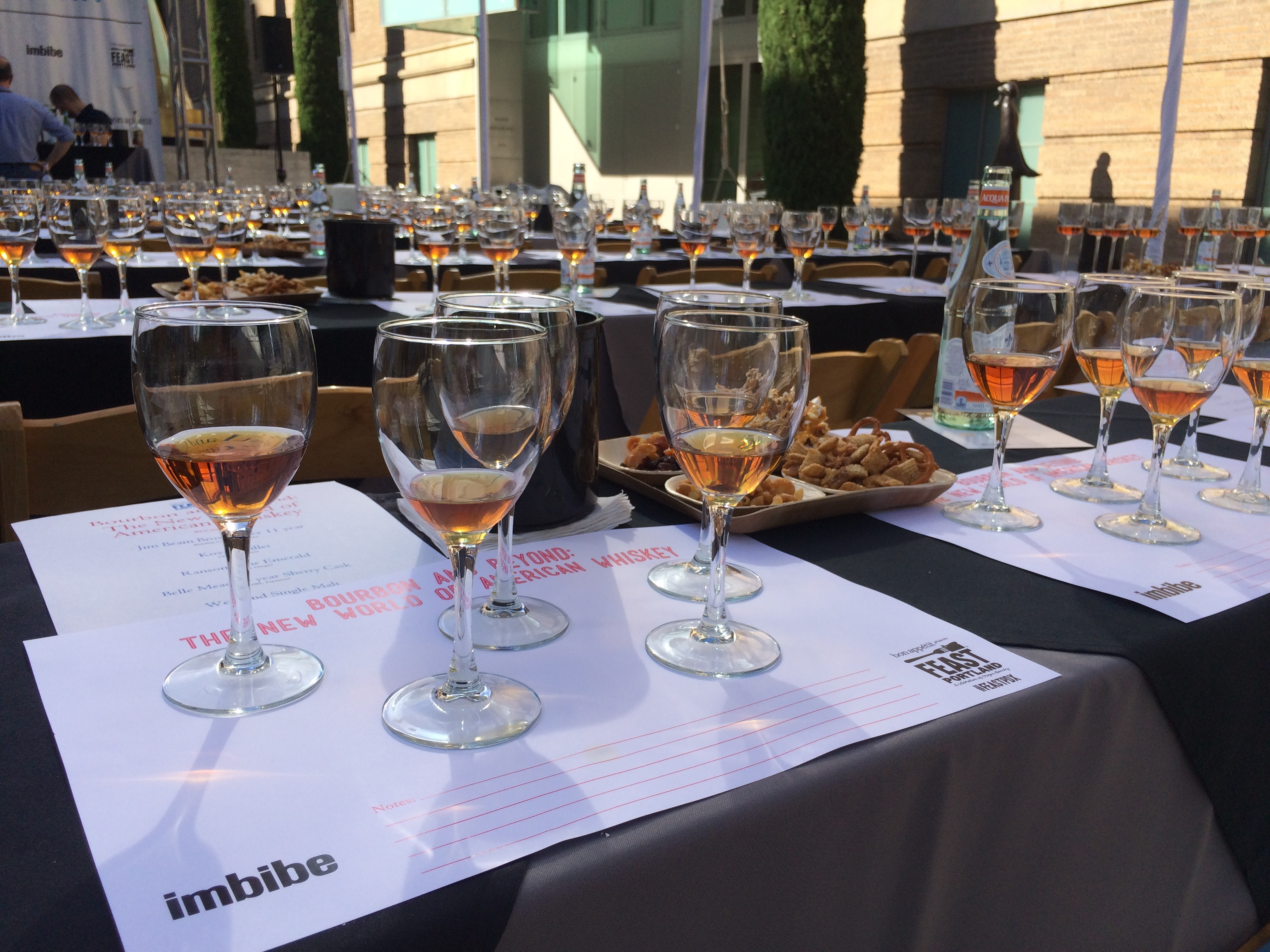 Tasting flight during Bourbon & Beyond - The New World of American Whiskey at Feast Portland in 2015. (photo by D.J. Paul)