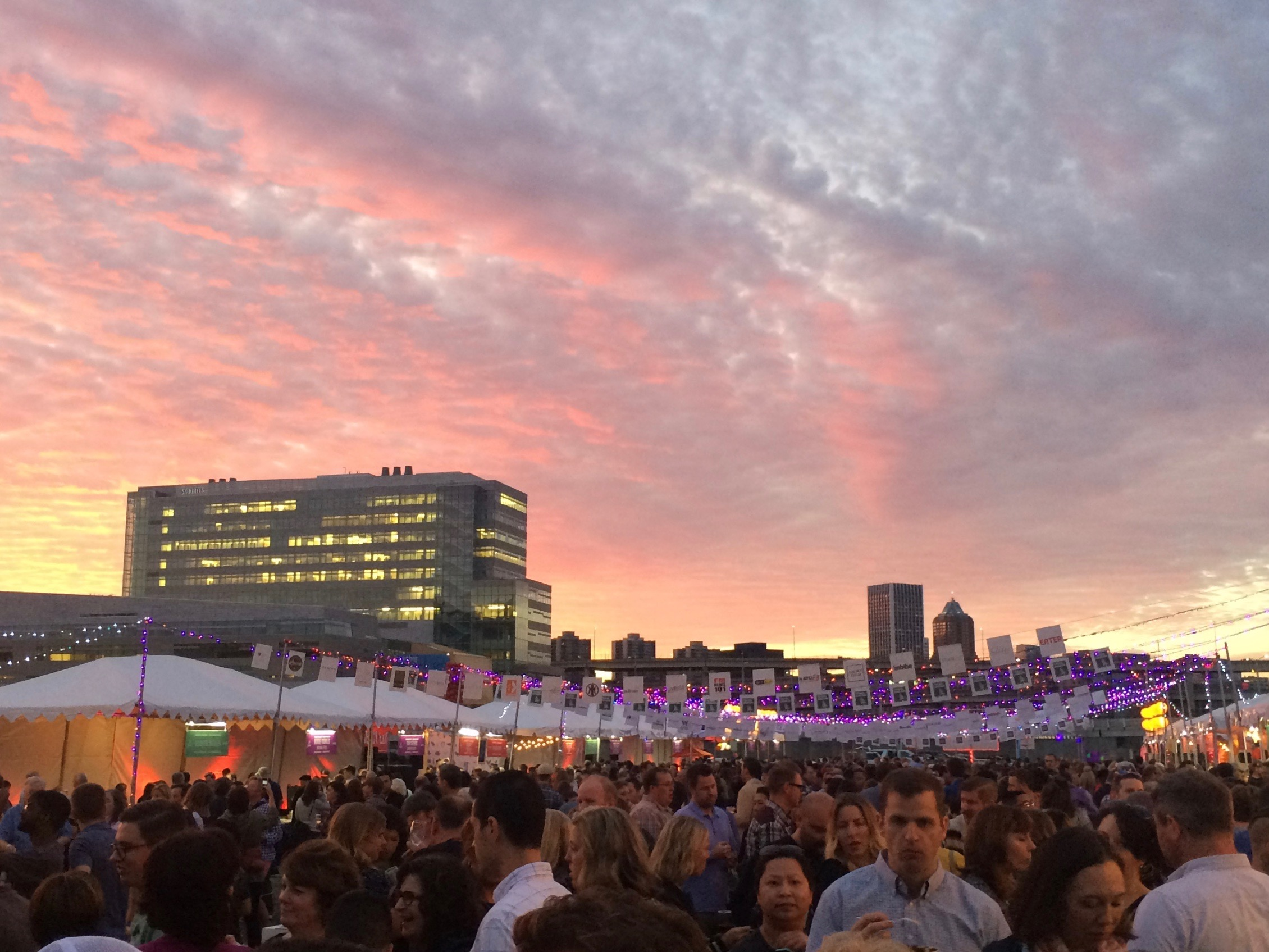 The Portland sunset during Feast Portland Night Market. (photo by D.J. Paul)