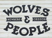 Wolves & People sign on the brewery barn in Newberg, Oregon. (photo by Cat Stelzer)