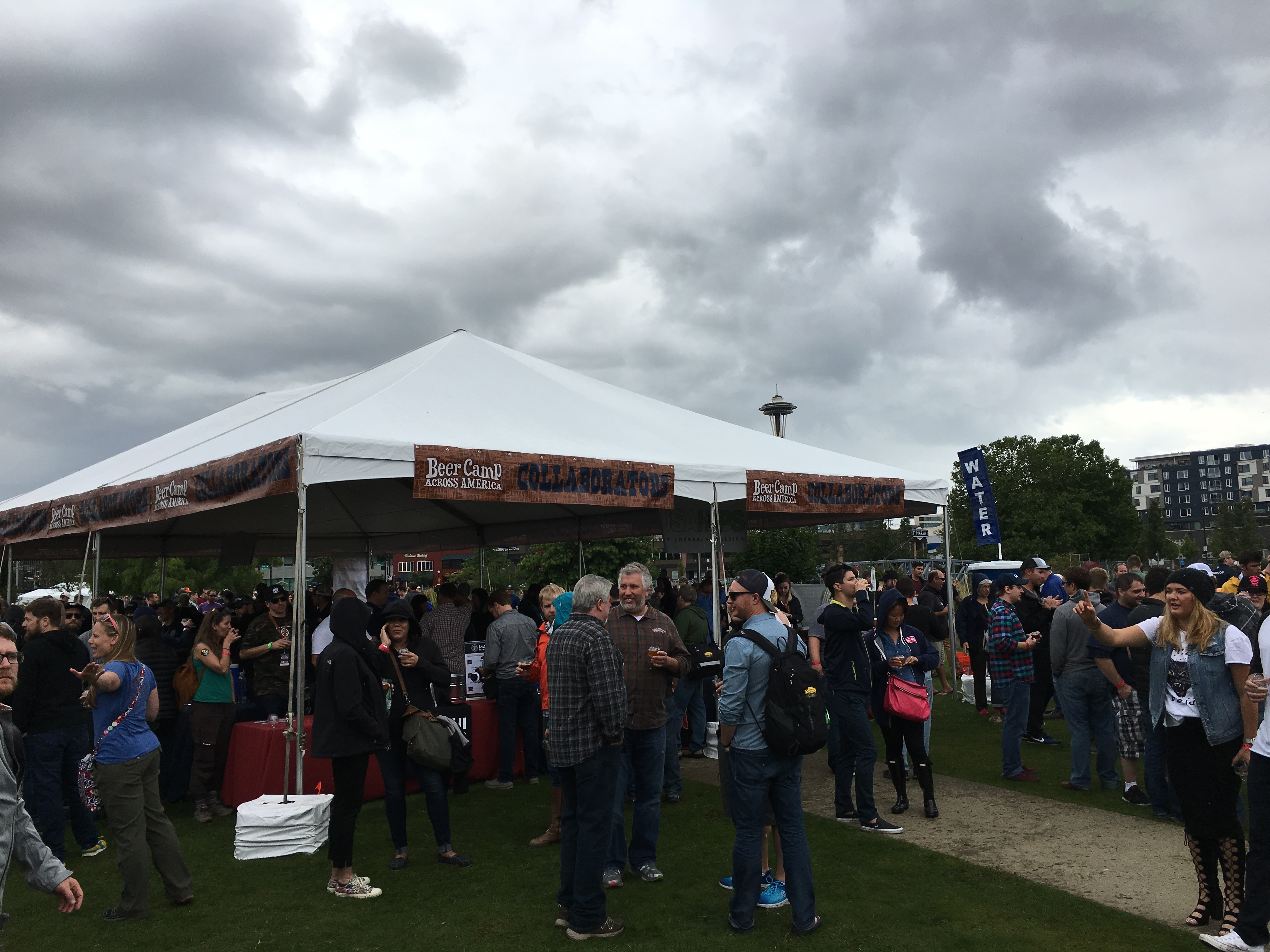 Clouds and then rain roll in towards the end of Sierra Nevada Beer Camp Across America Festival in Seattle. (photo by D.J. Paul)