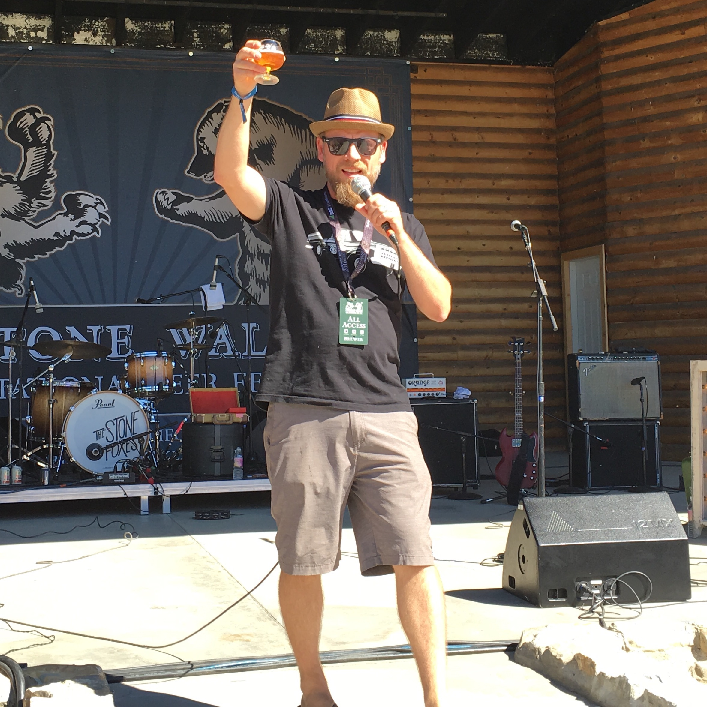 Firestone Walker Brewmaster Matt Brynildson giving thanks to the crowd during the 2016 Firestone Walker Invitational Beer Fest.