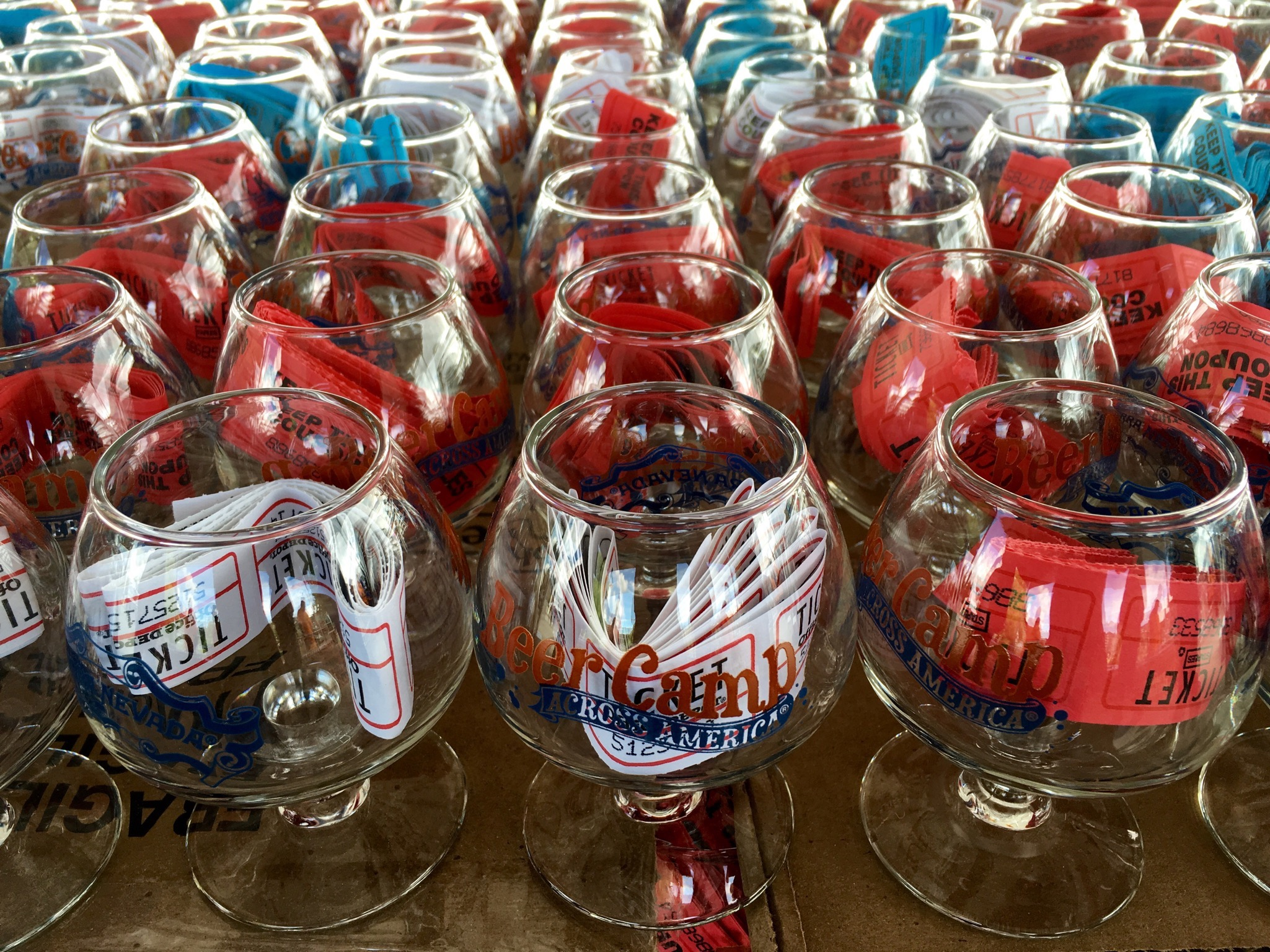 Glassware is all ready to go at Sierra Nevada Beer Camp Across America Festival in Seattle. (photo by Cat Stelzer)