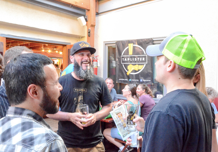 Kerry Finsand (right), Rye Beer Fest founder at the 2015 Rye Beer Fest. (image courtesy of the Rye Beer Festival)