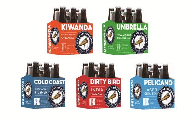 Lineup of new Pelican 6 pack program. (image courtesy of Pelican Brewing)
