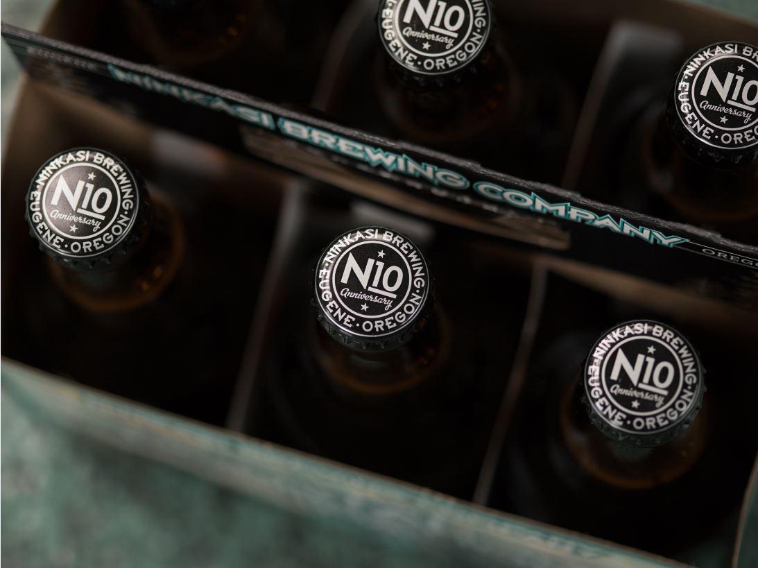 Ninkasi N10 6-pack Bottle Crowns. (image courtesy of Ninkasi Brewing)
