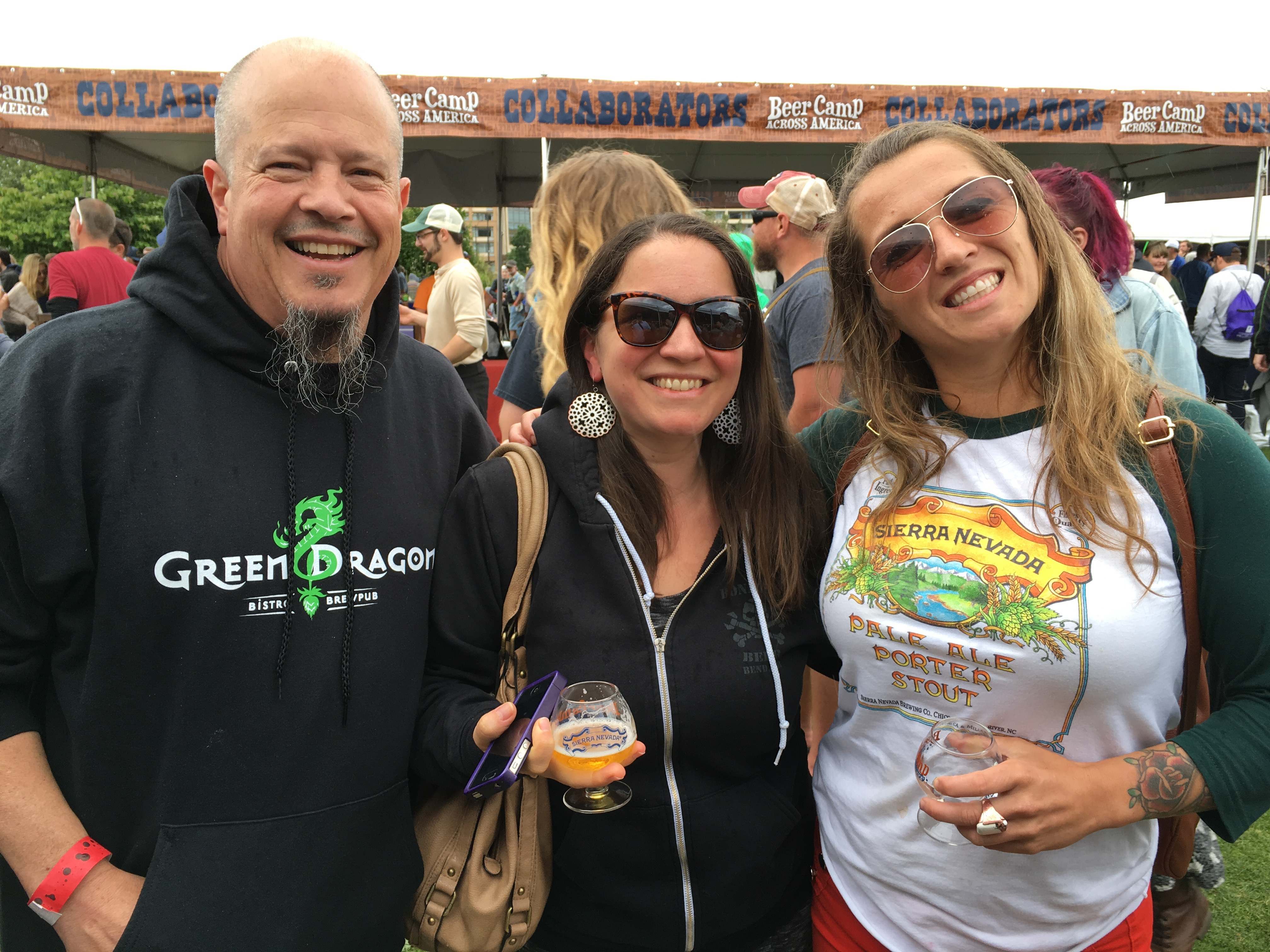 Russ and Lexie from Portland's Green Dragon with Kat Finn, Portland Sierra Nevada Representative at Beer Camp Across America Festival in Seattle. (photo by D.J. Paul)