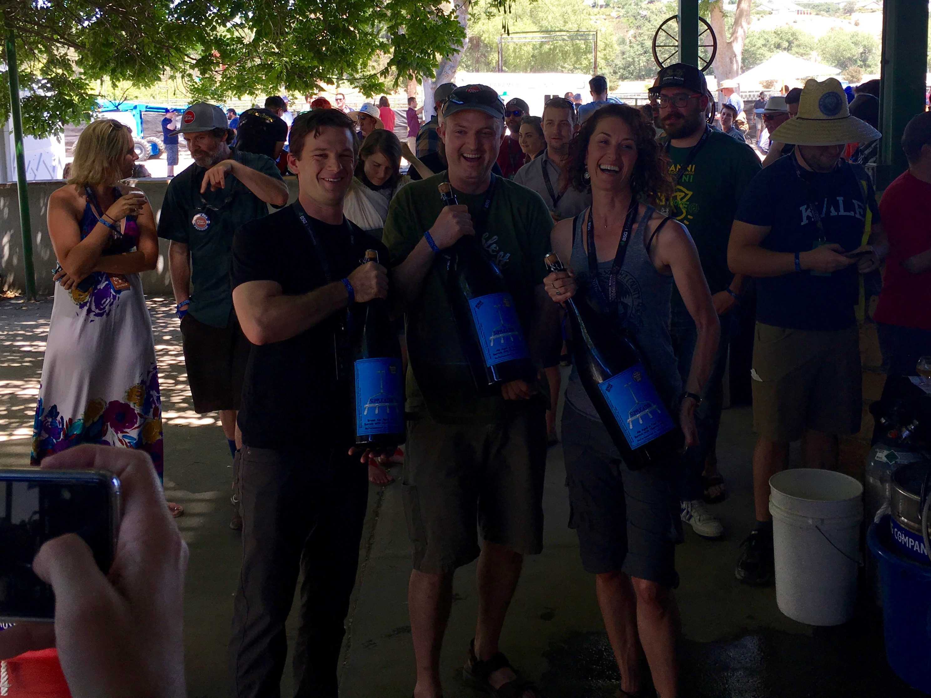 Russian River Brewing poses with a few 6 liter bottles of 2009 Russian River Supplication during the 2016 Firestone Walker Invitational Beer Fest.