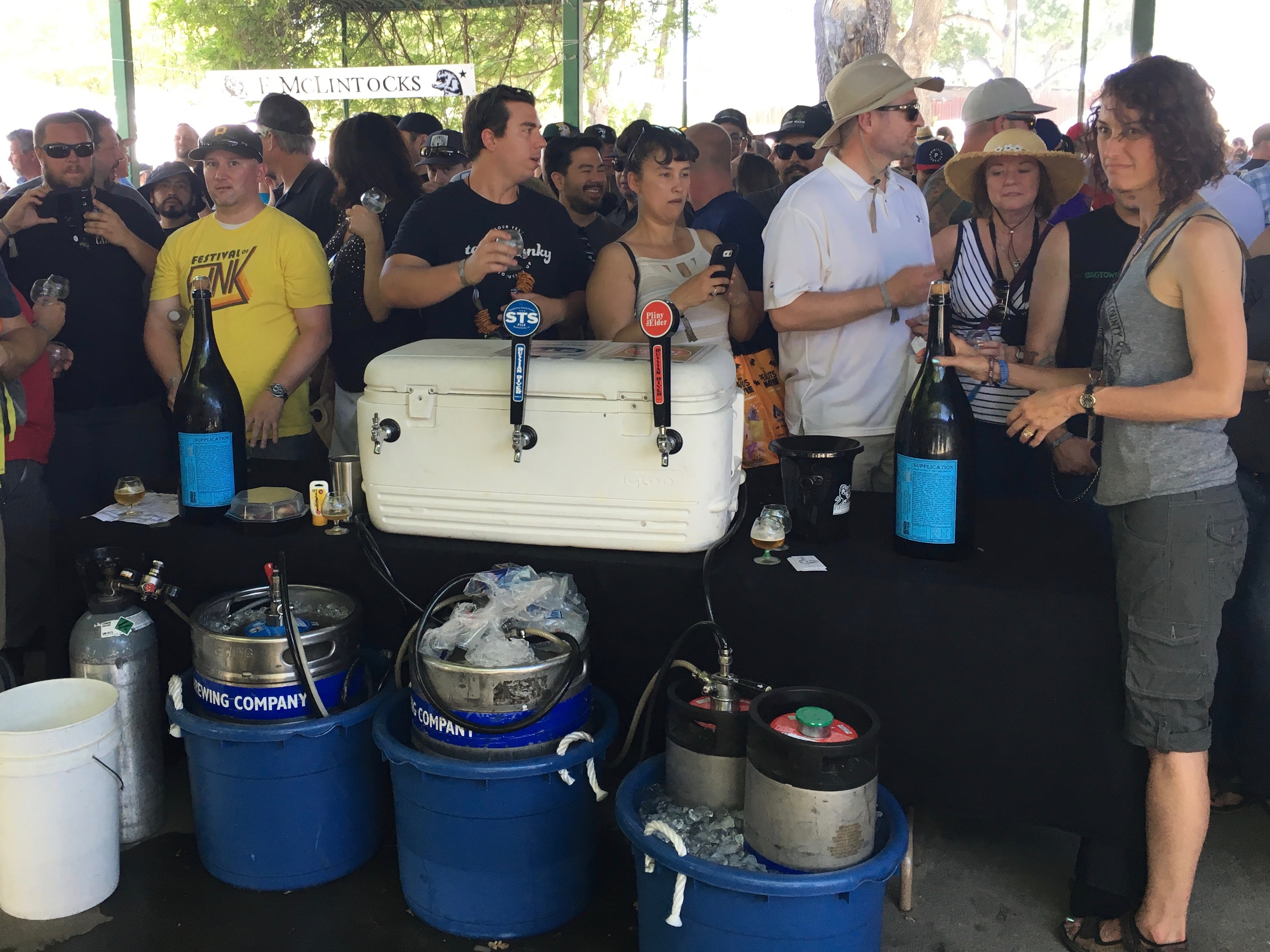 The line begins to form just prior to the uncorking of the 6 litter bottles of 2009 Russian River Supplication during the 2016 Firestone Walker Invitational Beer Fest.