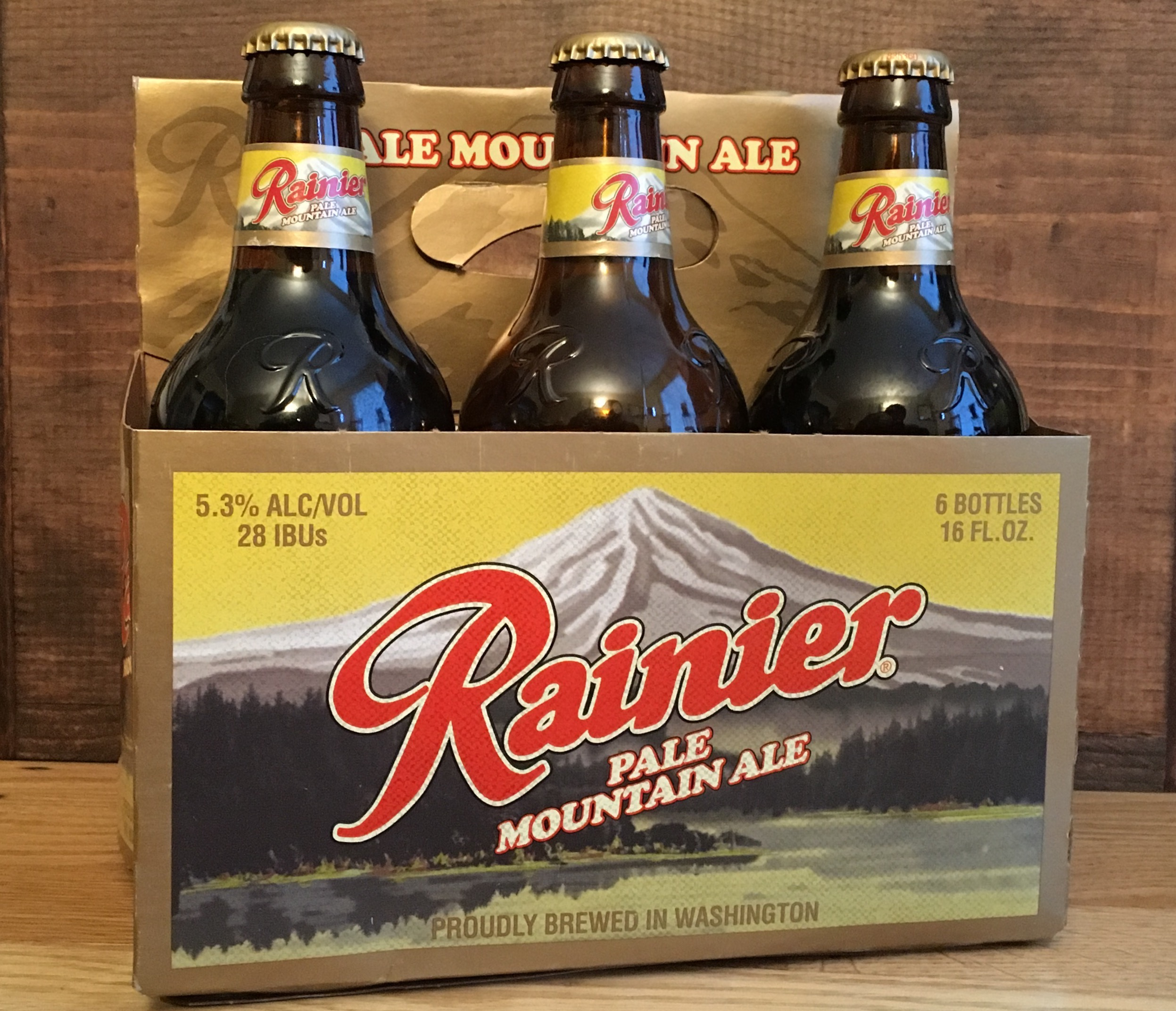 The new six pack of Rainier Pale Mountain Ale.