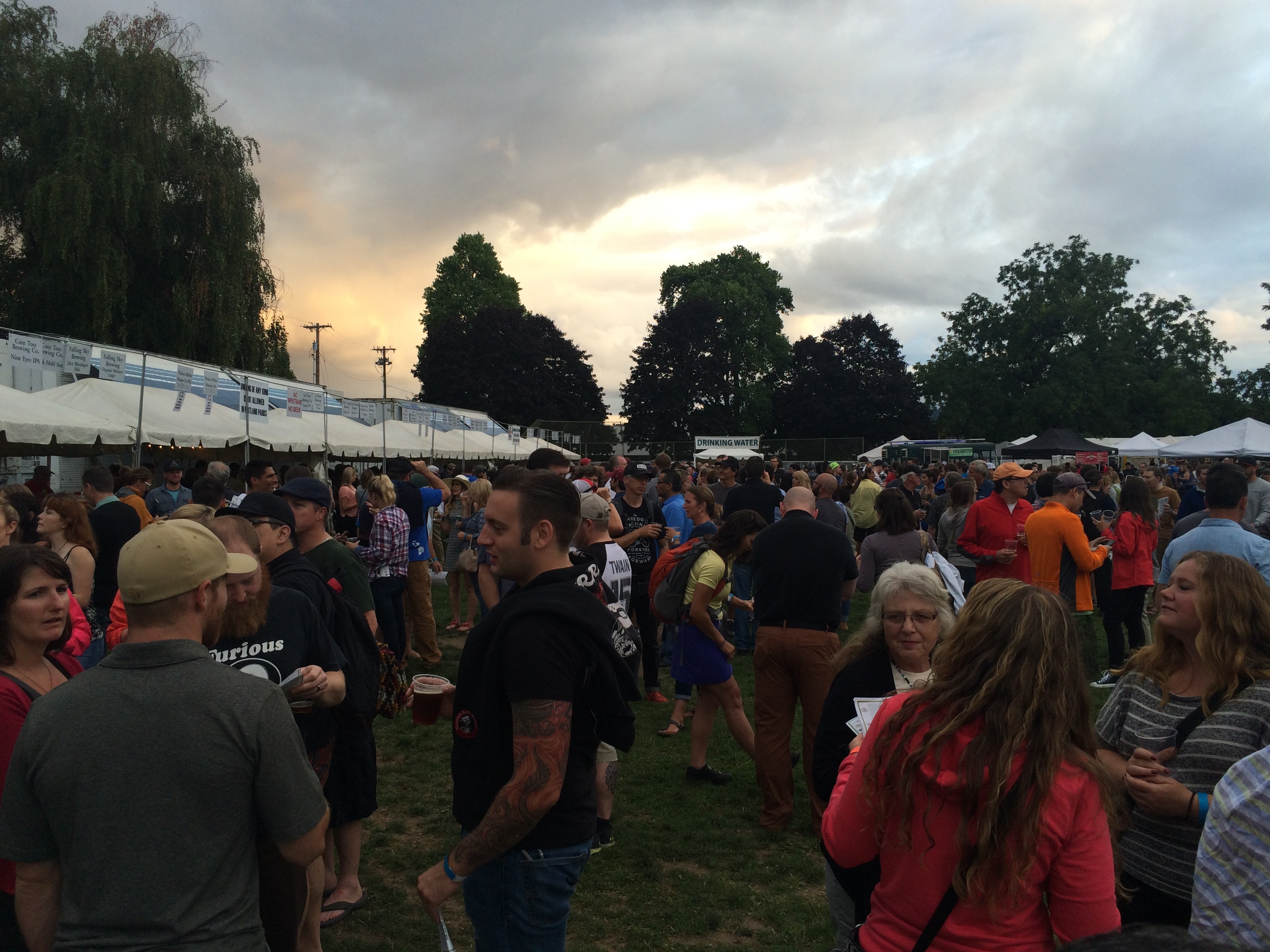 The sun begins to set during the 2015 Organic Beer Fest in Portland, Oregon.