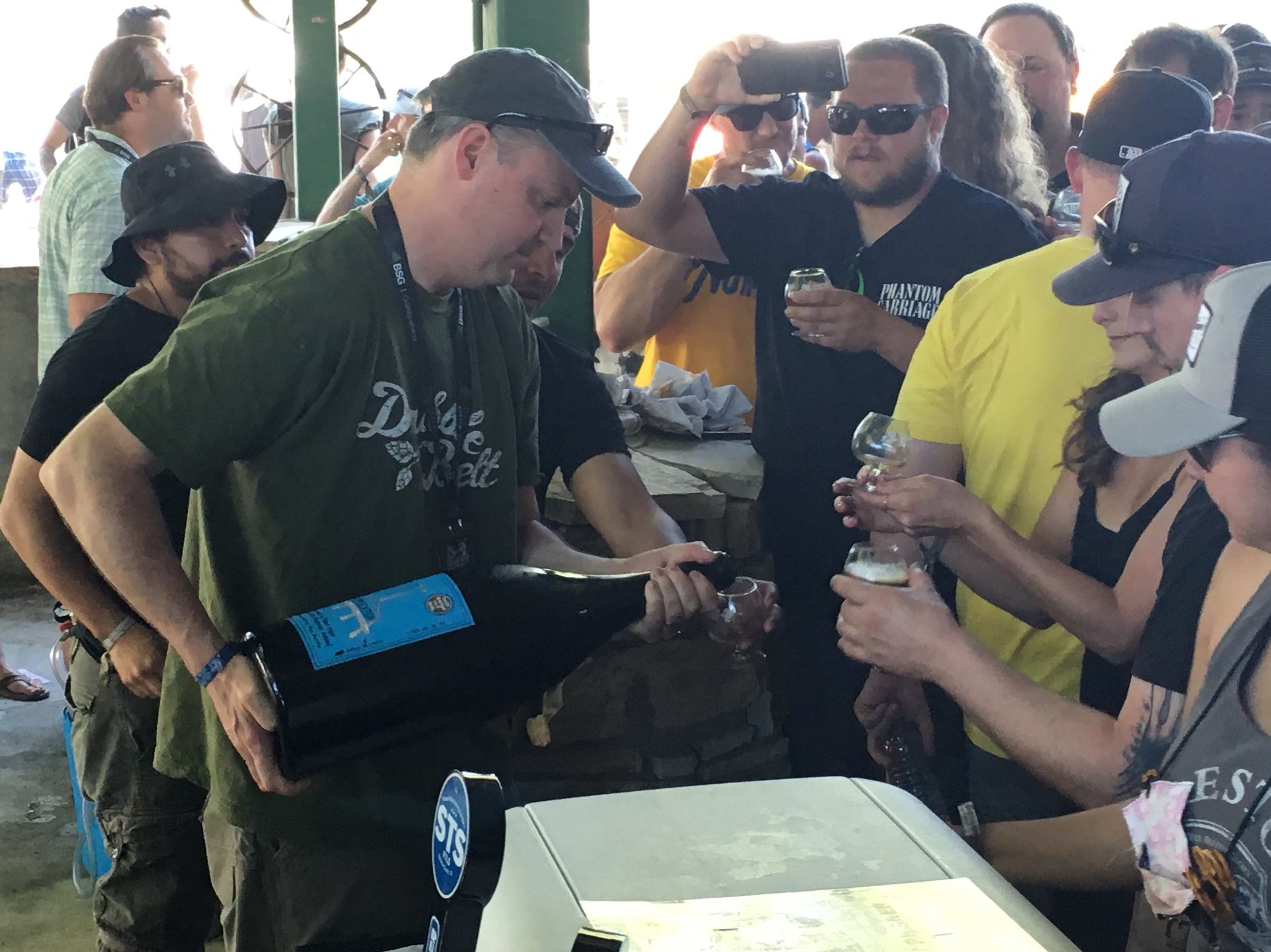 Vinnie Cilurzo pouring from one of the 6 liter bottles of 2009 Russian River Supplication during the 2016 Firestone Walker Invitational Beer Fest.