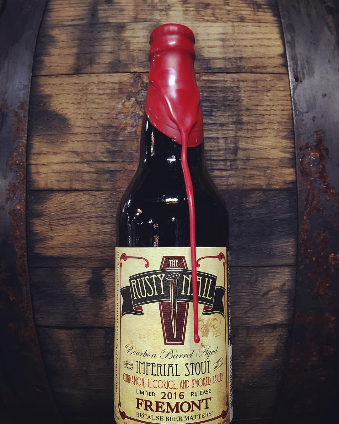 A 22 oz. wax dipped bottle of The Rusty Nail. (image courtesy of Fremont Brewing Company)