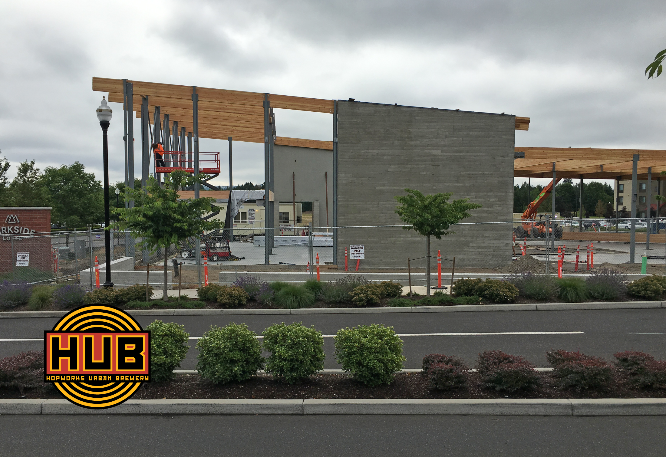 A view of the construction progress of the new Hopworks Urban Brewery location in Vancouver, Washington. (image courtesy of Siteworks)