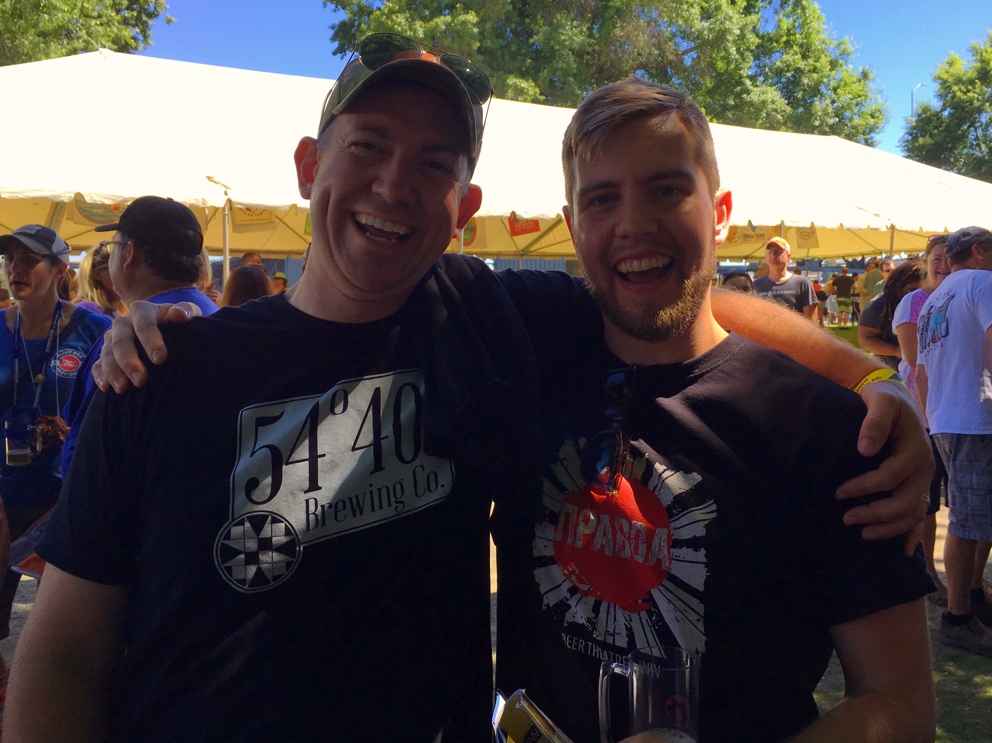 Former co-workers, Bolt Minister from 54 40 Brewing and Cory McGuinnes from Pravda Beer Theatre, reunite at the 2016 Oregon Brewers Festival. Cory traveled all the way back from Lviv, Ukraine where he now resides and brews to attend the 2016 OBF.