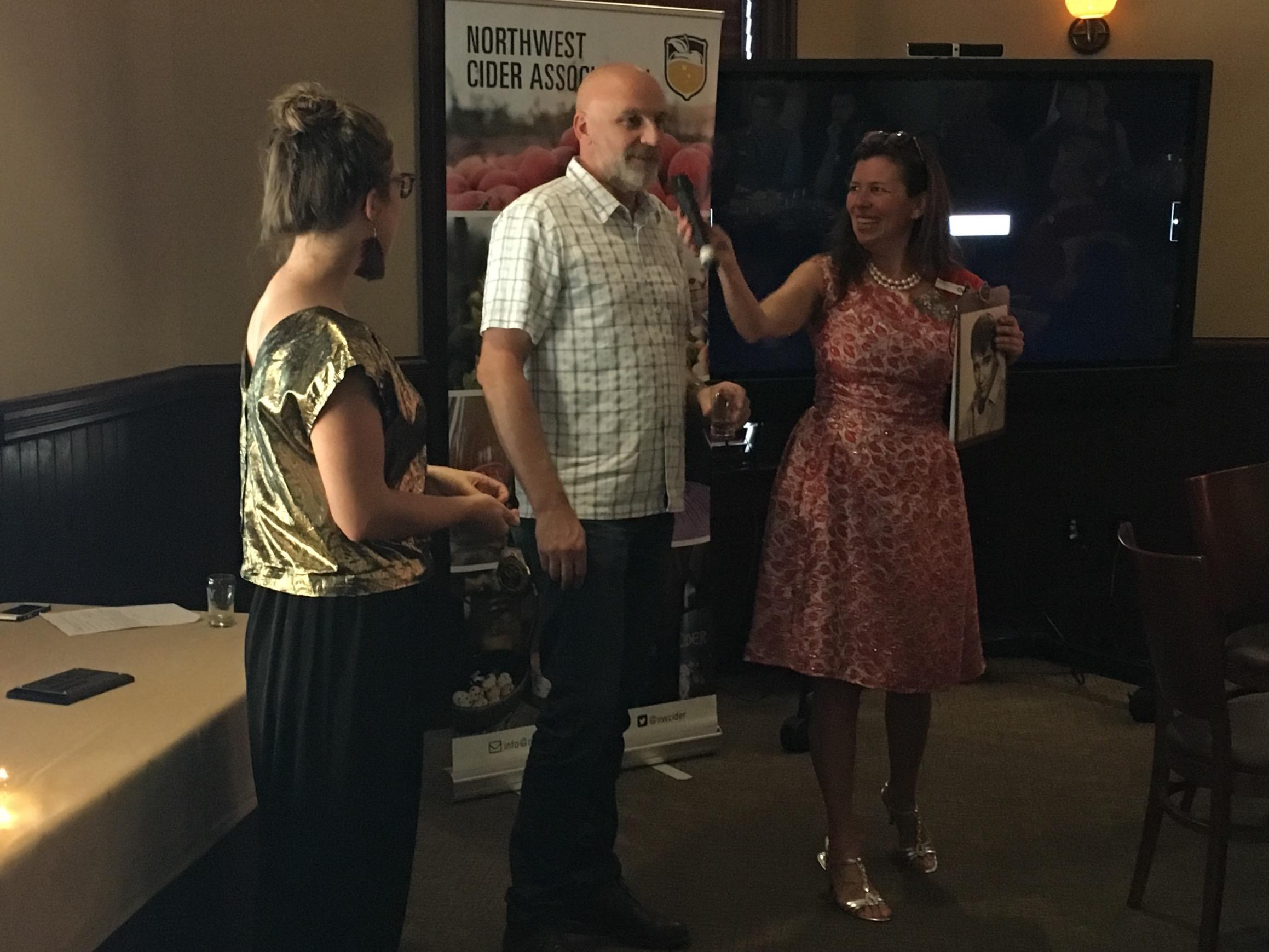 Doug Rehberg from Square Mile Cider is awarded the Gold Medal for Spur & Vine Hopped Cider at the 2016 Portland International Cider Cup Awards.