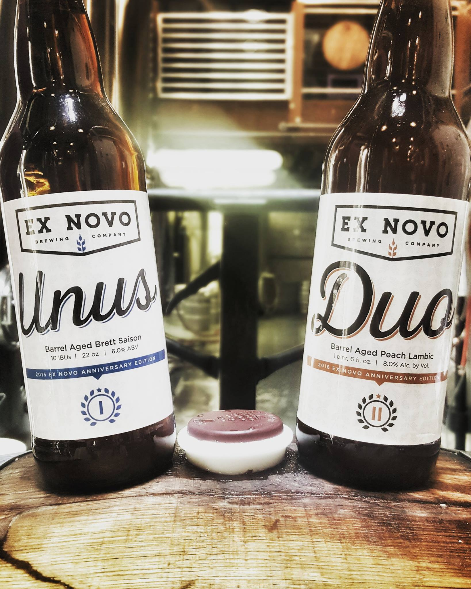 Ex Novo anniversary beers, Duo and Unus will be available on Saturday, July 9th. (image courtesy of Ex Novo Brewing)