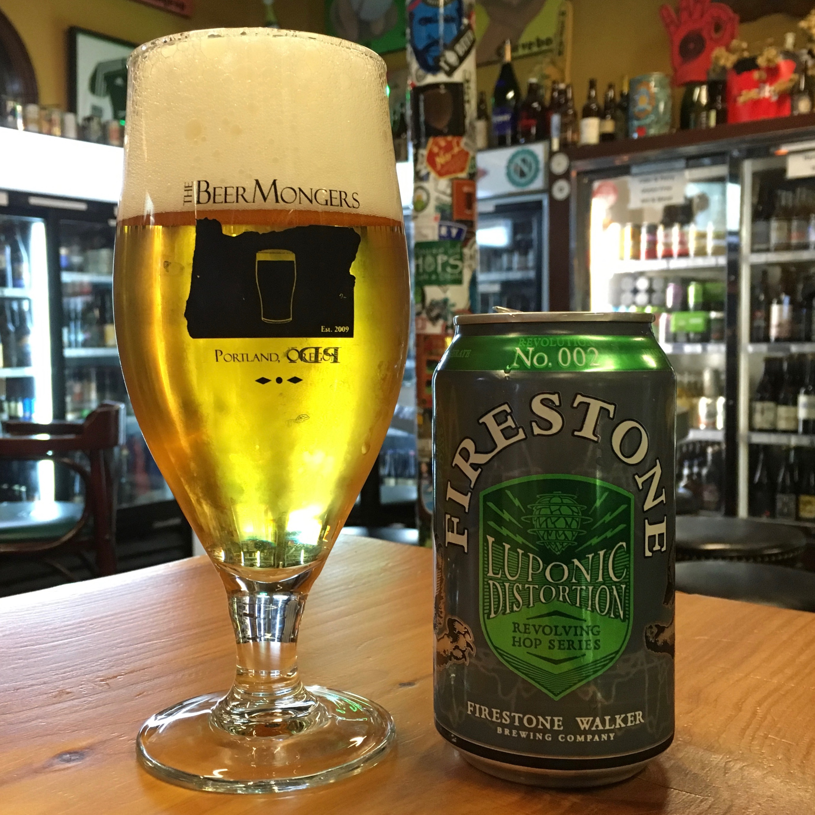 Firestone Walker Luponic Distortion No.002 at The BeerMongers direct from the 12 oz. can.