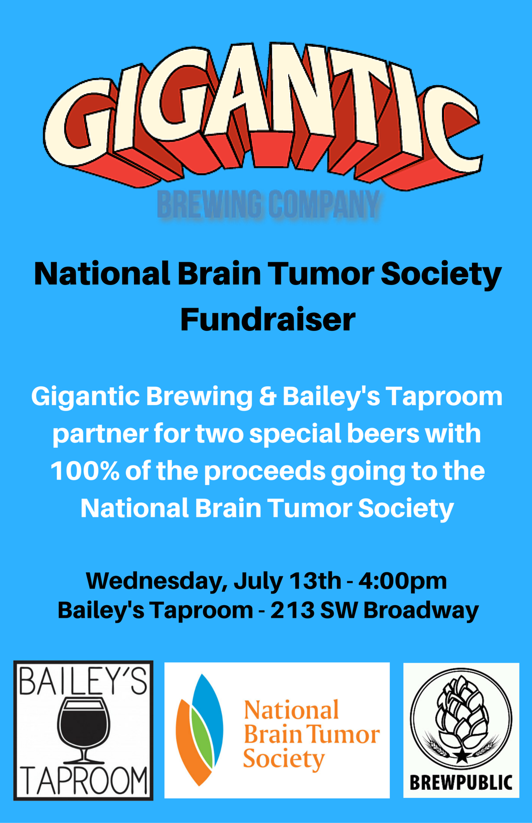Gigantic Brewing & Bailey's Taproom National Brain Tumor Society Fundraiser
