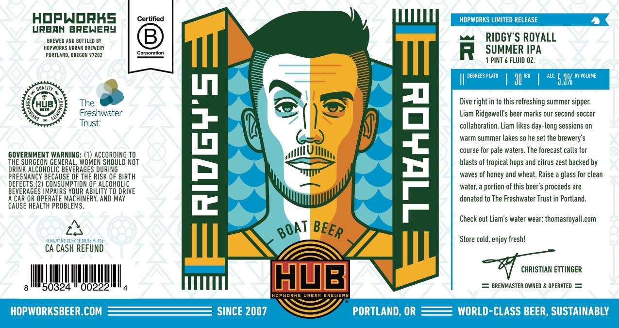 Hopworks Urban Brewery and Liam Ridgewell label for Ridgy's Royall Boat Beer